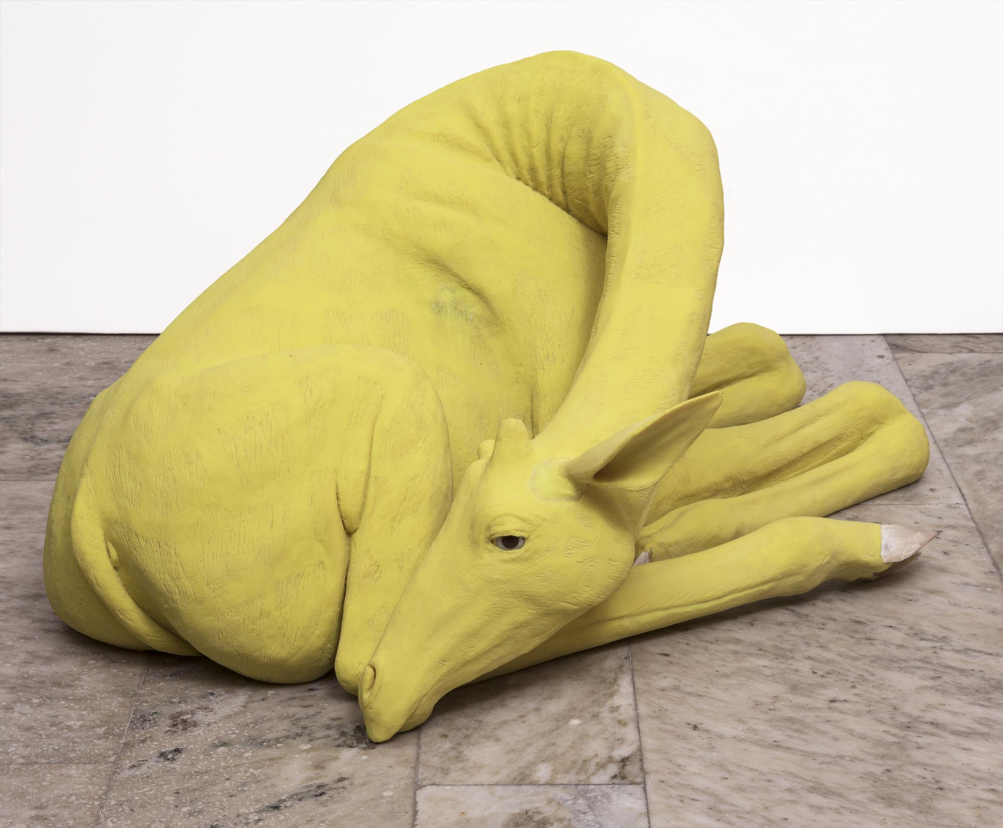 Carsten Höller   Giraffe  2018 Edition 5 + 2 AP Yellow-tinted polyurethane, cow horn, brown glass eyes 75 x 53 x 38 cm