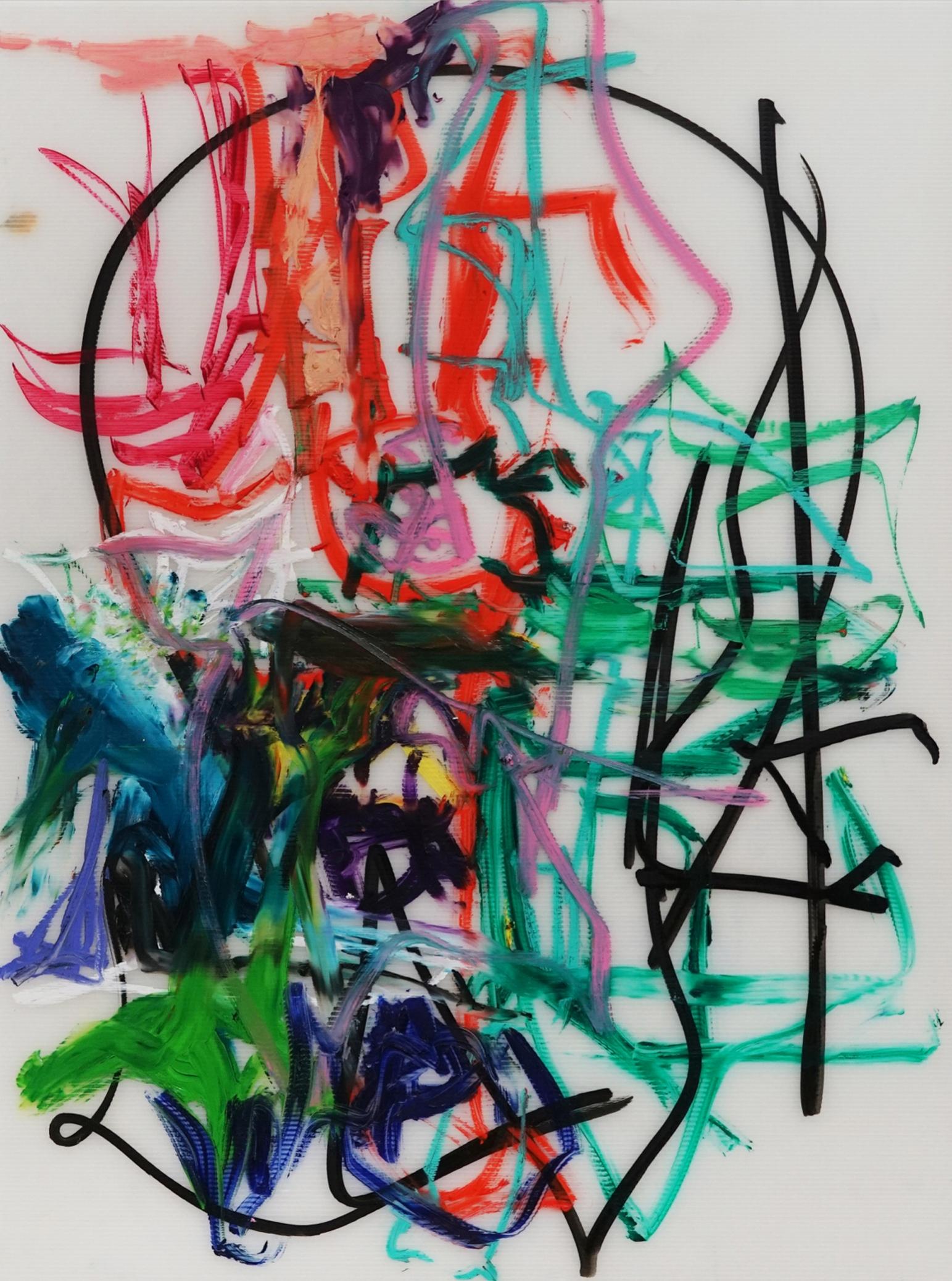 Aaron Garber-Maikovska   Untitled  2017 Ink and oil stick on archival gaterboard, framed 91,5 x 71 cm