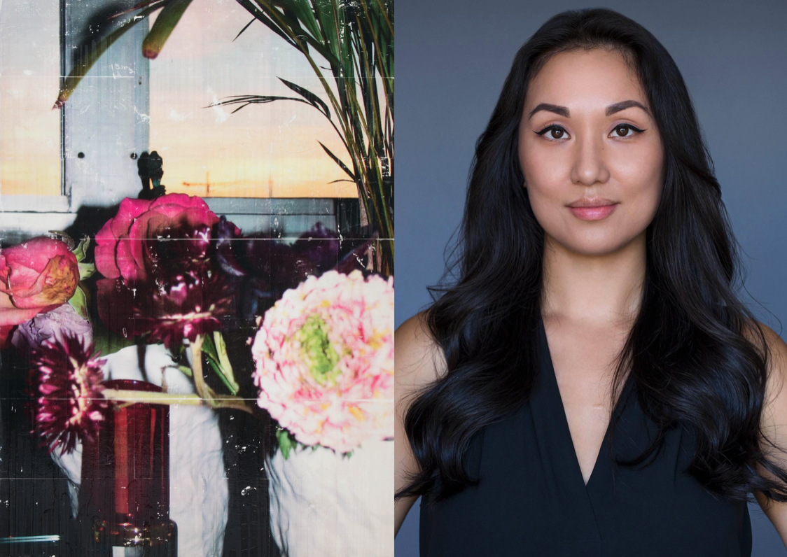 Melanie Lum is a curator based in LA, working in USA and China. To the left, artwork by Parker Ito.