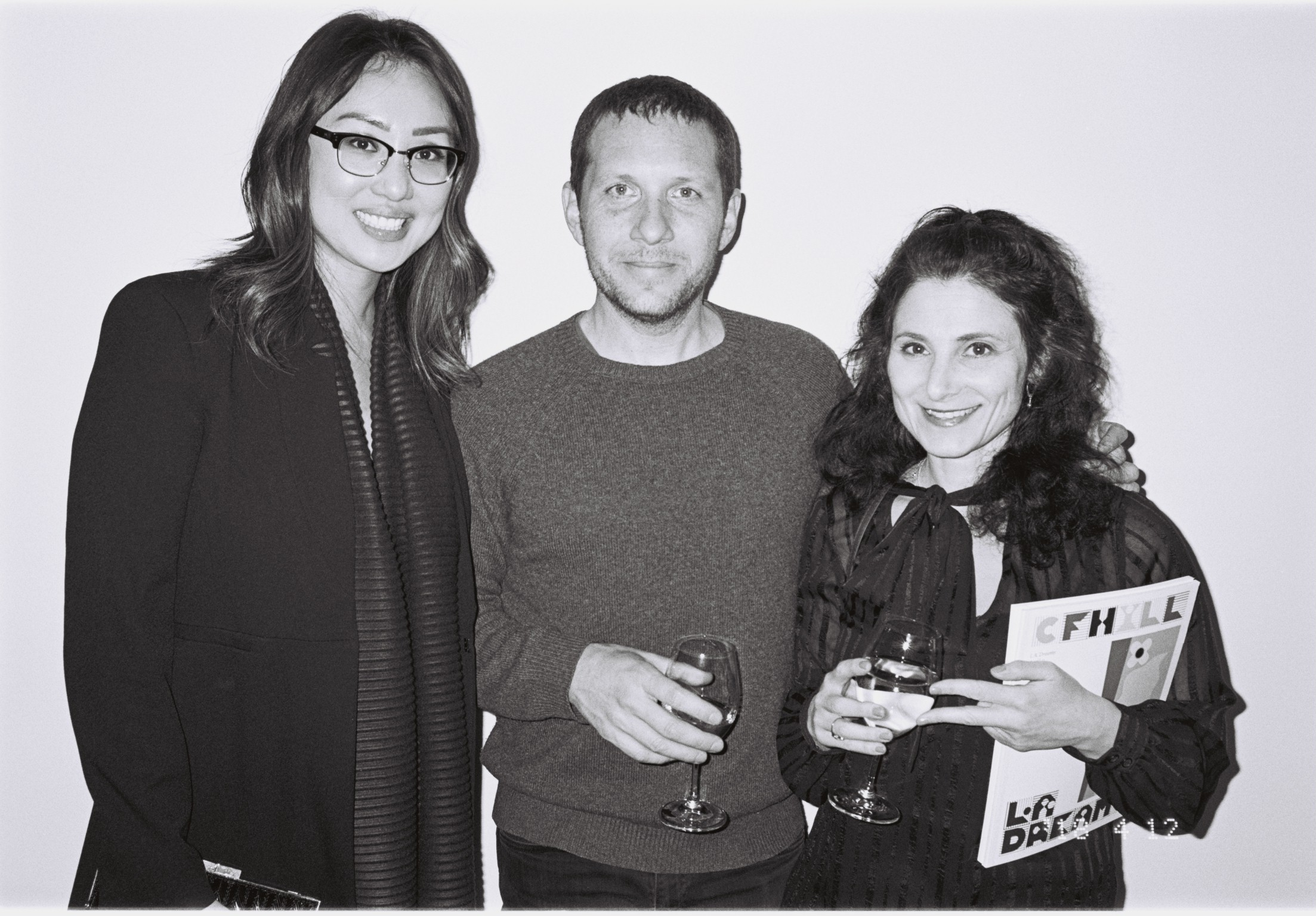 The curator Melanie Lum at the opening night next to one of the artists, Joshua Nathanson and our editor Paulina Sokolow. Photo: Ivan Nunez.