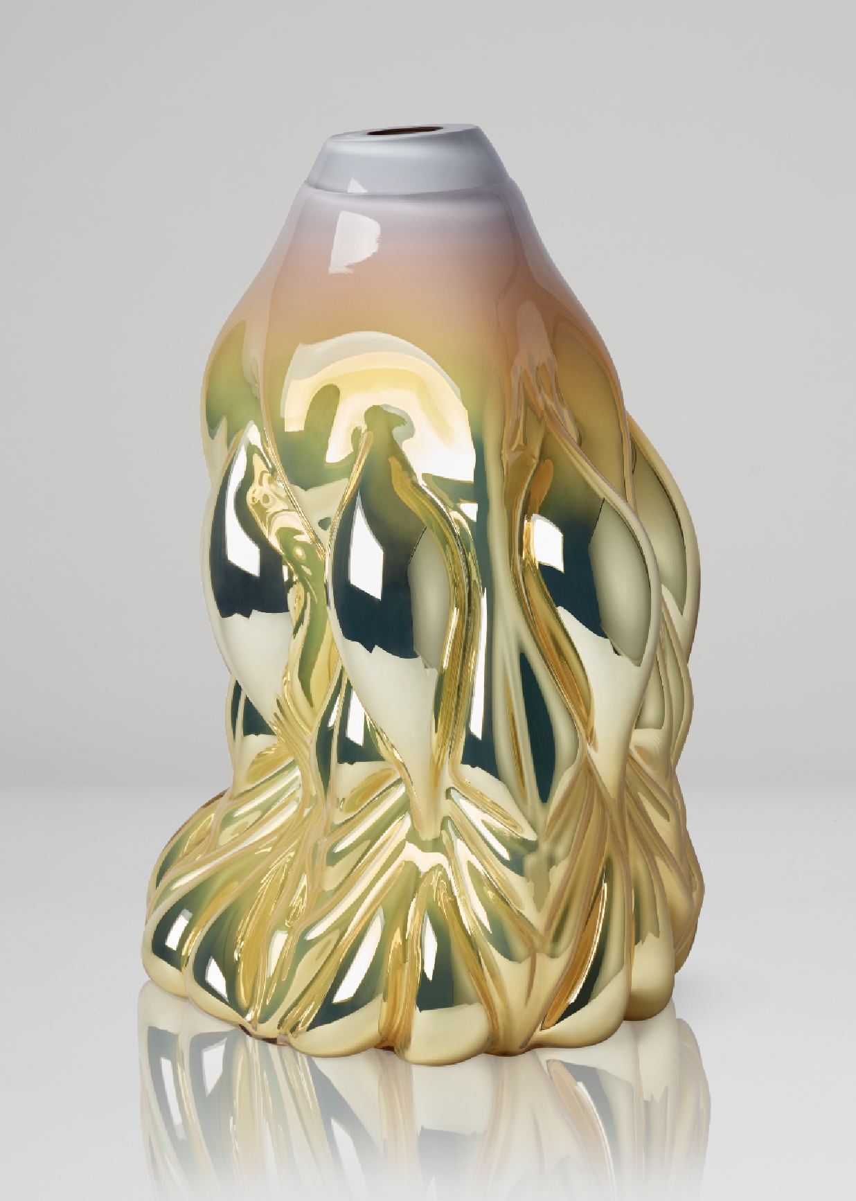 Hanna Hansdotter.  Goldfish Print, soft yellow metallic , 2018, Boda Glasbruk, Shape-blown glass, silver foiled. 48 x 31 cm. Edition 1+2 AP.  Available through CFHILL.