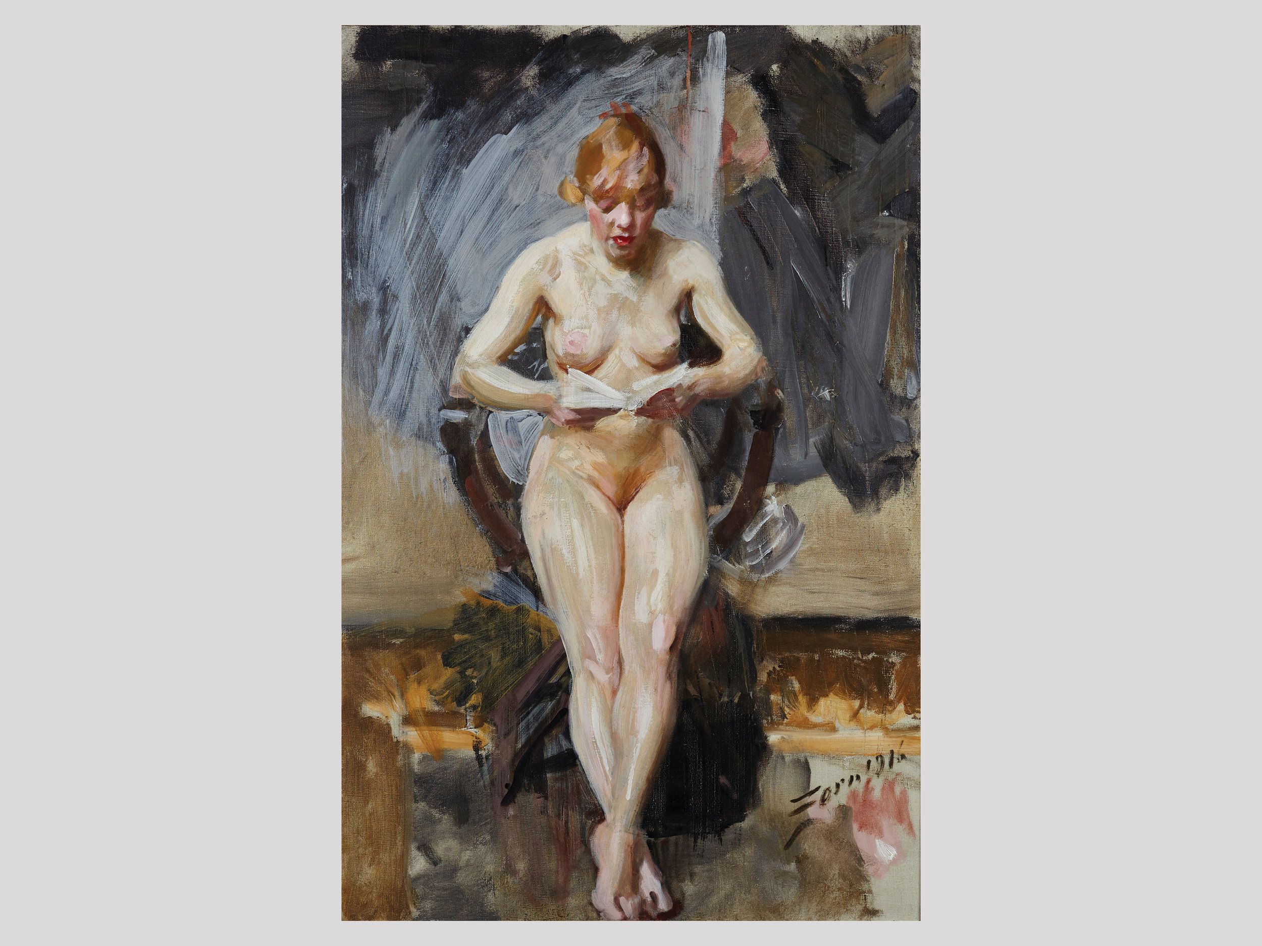 """Anders Zorn   Läsande modell  1916 Oil on canvas 82,5 x 54,5 cm  """"What had happened if Anders Zorn would have lived longer? This strikes me when I see this unusual work. To paint naked girls in Mora might not be the unusual, but the way he uses contrasts in surface and material. Wow! Her skin pops out against the stormy background. He's definitely closer to Lucien Freud than to his contemporaries.""""   Available"""