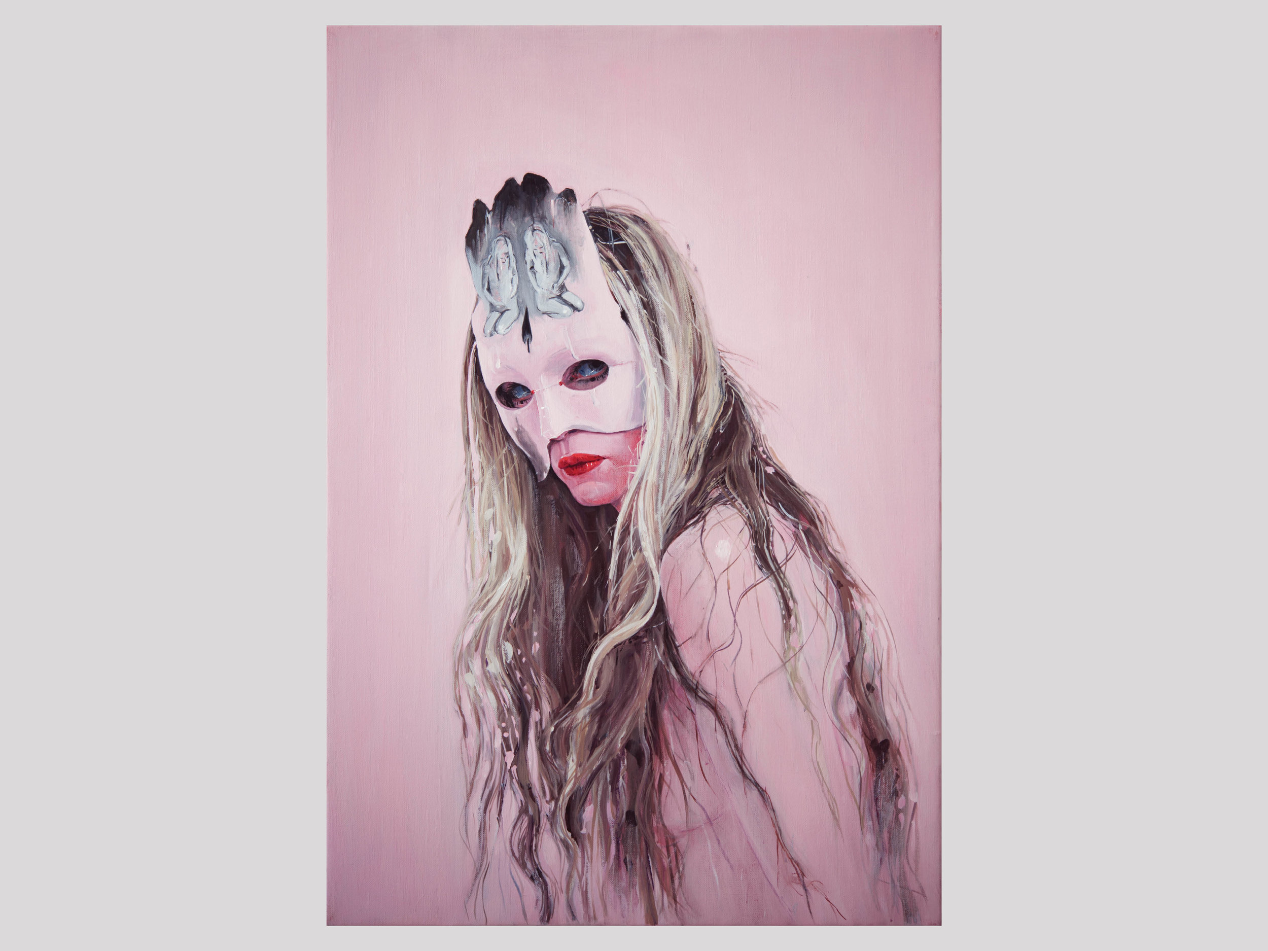 """Ylva Snöfrid   Mask After the Transmutation Ritual (nr.3)  2017 Oil on canvas 63 x 43 cm  """"This work wasn't in our show, but originates from the artist's studio in Athens a year ago. There, she lived with her family in a symbiosis with her art and with her alter ego, Snöfrid who eventually melted in to Ylva in the CFHILL exhibition. This self portrait shakes me. It's simply brilliant and shows that she's reached a new level in her painting.""""   Available"""