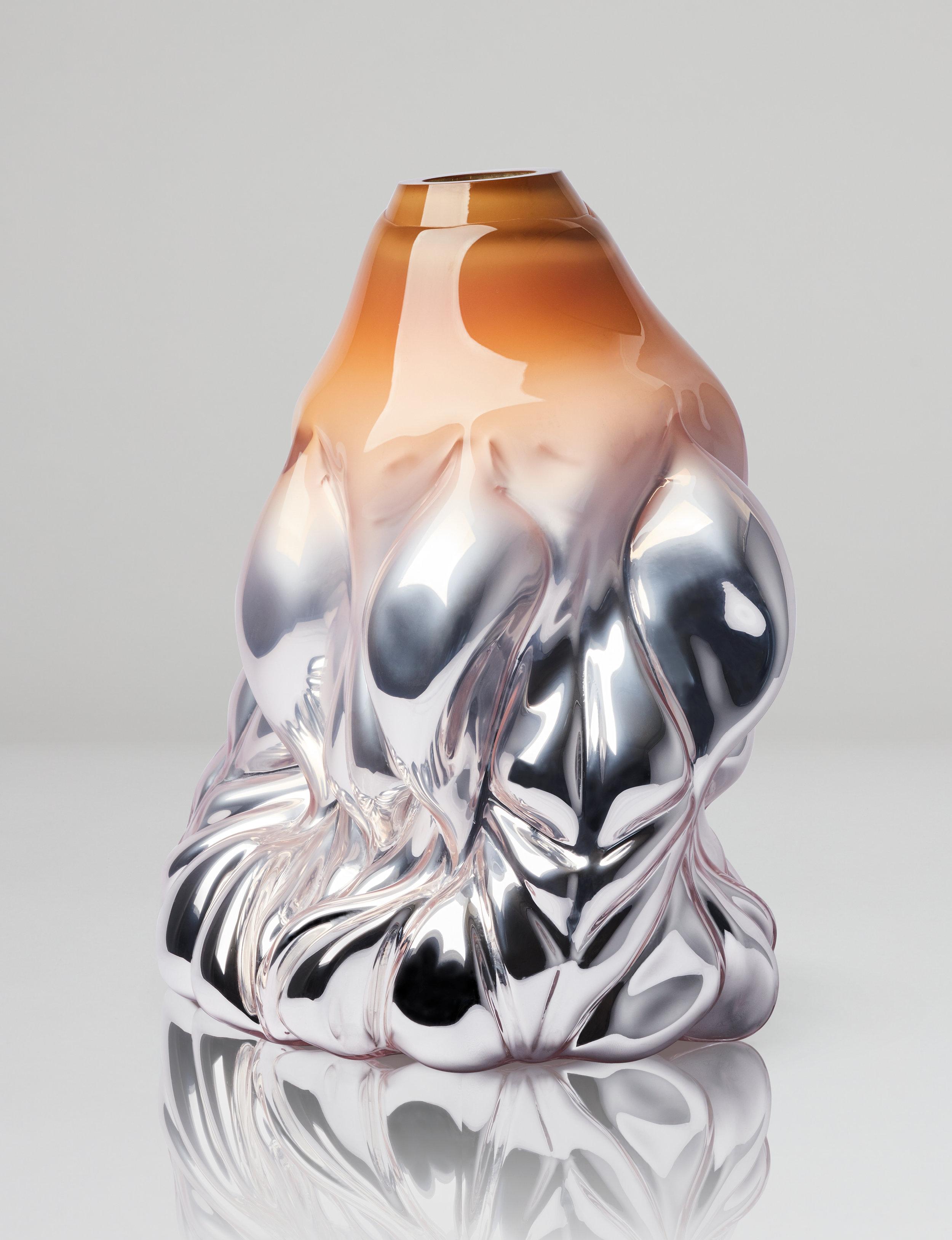 Goldfish Print, apricot metallic. 2018. Boda Glasbruk. Shape-blown glass, silver foiled. 45 cm x 36 cm. Edition 1+2 AP.