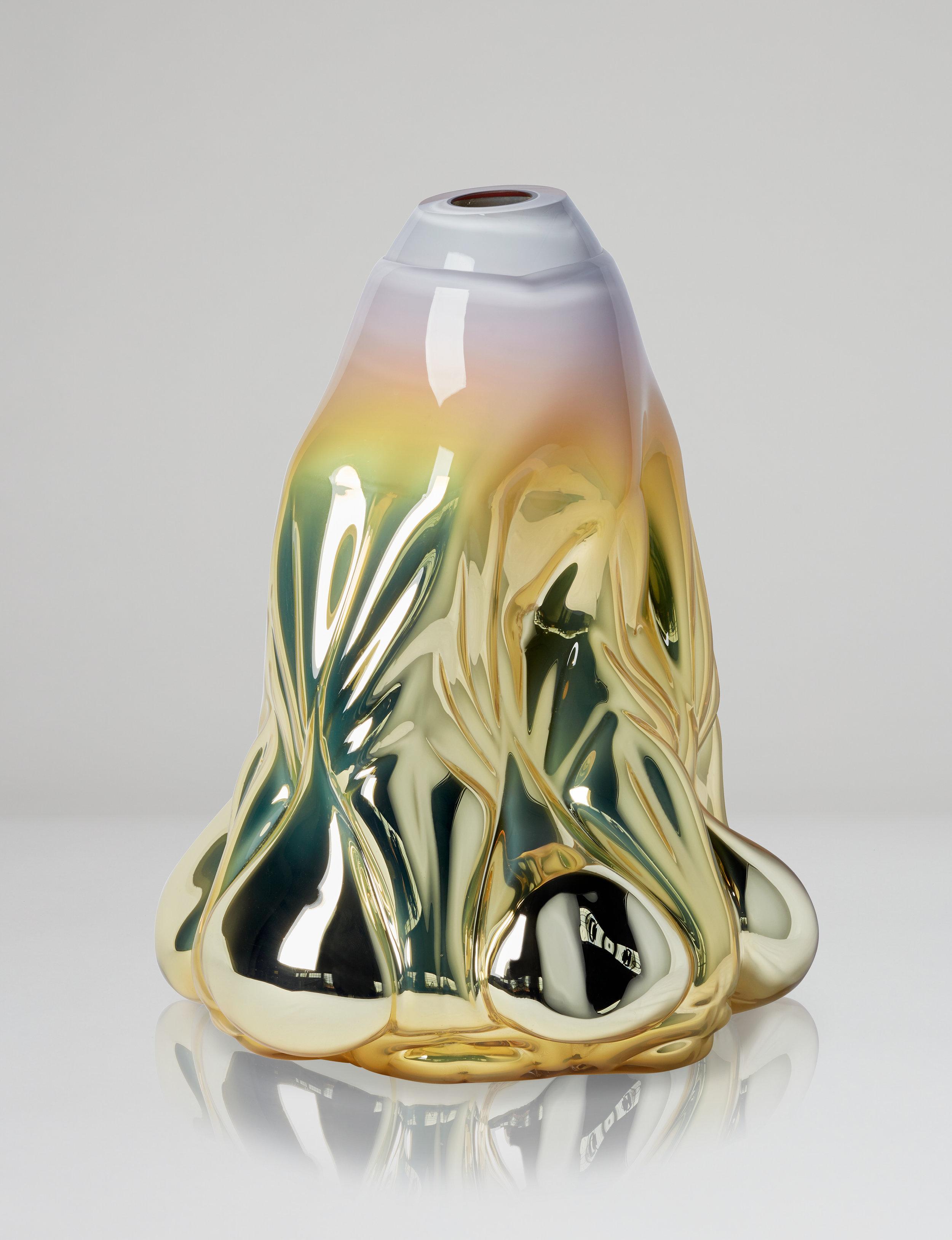Dripping Print, soft yellow metallic. 2018. Boda Glasbruk. Shape-blown glass, mirror foiled. 50 cm x 37 cm. Edition 1 + 2 AP