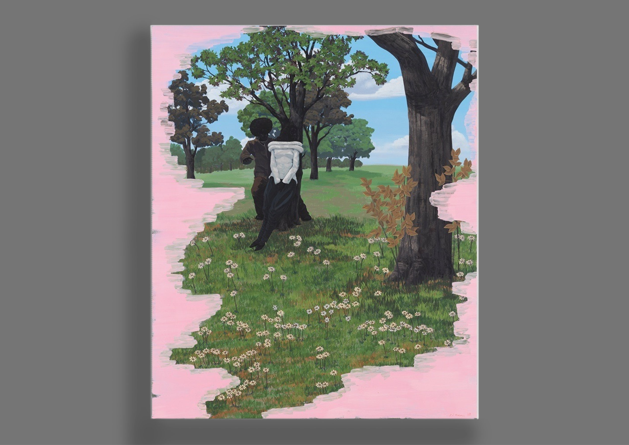 Kerry James Marshall  (Art Basel), the current it-boy of the art world after having broken the world auction record. Here's a breathtaking work on PVC panel.