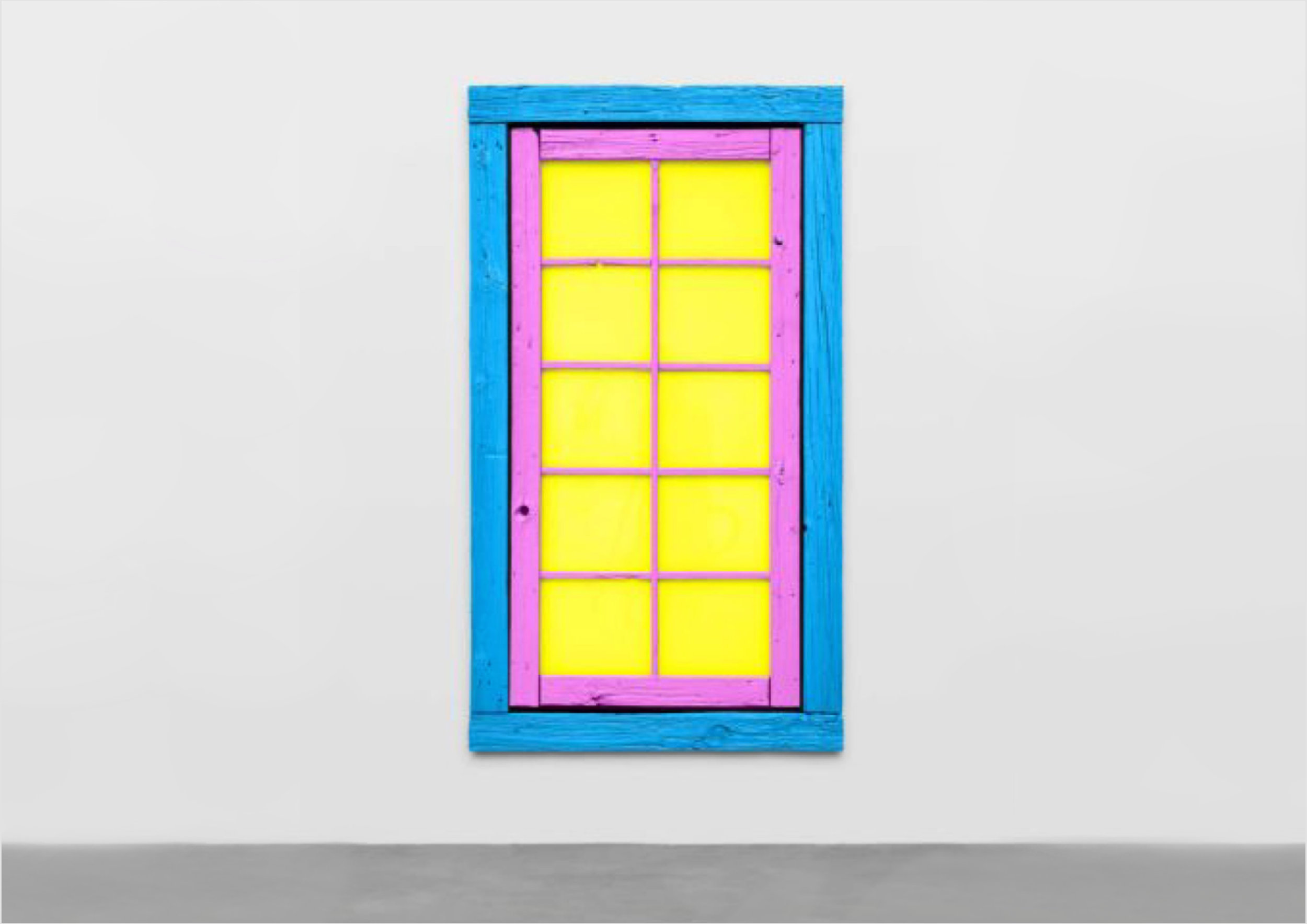 Before  Ugo Rondinone  (Art Basel) was associated with neon painted rocks he worked with doors and windows in pop art colors. I just love those works! Hey there, why not hang a door on a wall?