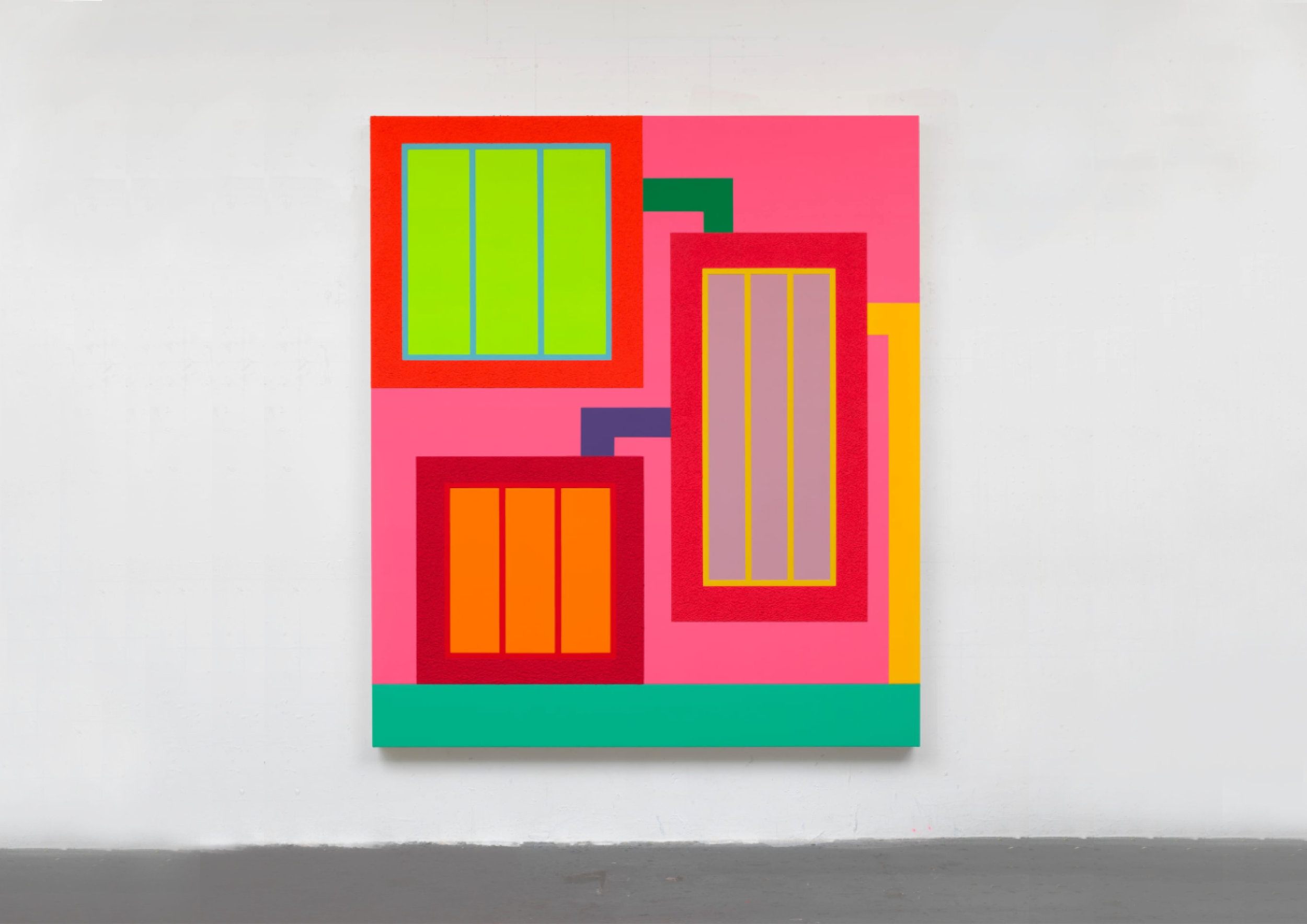 Peter Halley  (Art Basel), my personal darling, whose work literally and consistently screams from the wall. Definitely a must in a cocky collection.