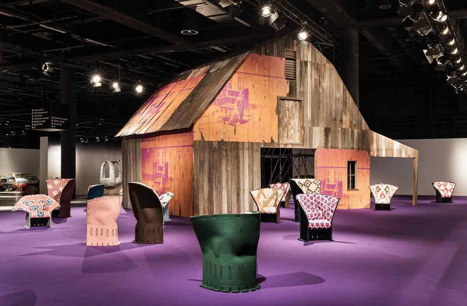 A typical American barn, decorated with, among other things, Warhol's electric chair, this is designed by Calvin Klein himself. This rather unusual installation by the fashion giant is being shown at Design Miami/Basel. Total eye candy, and a wonderful opportunity to whip up some buzz for their fall fashion show, which is going to take place in this spectacular scenery.