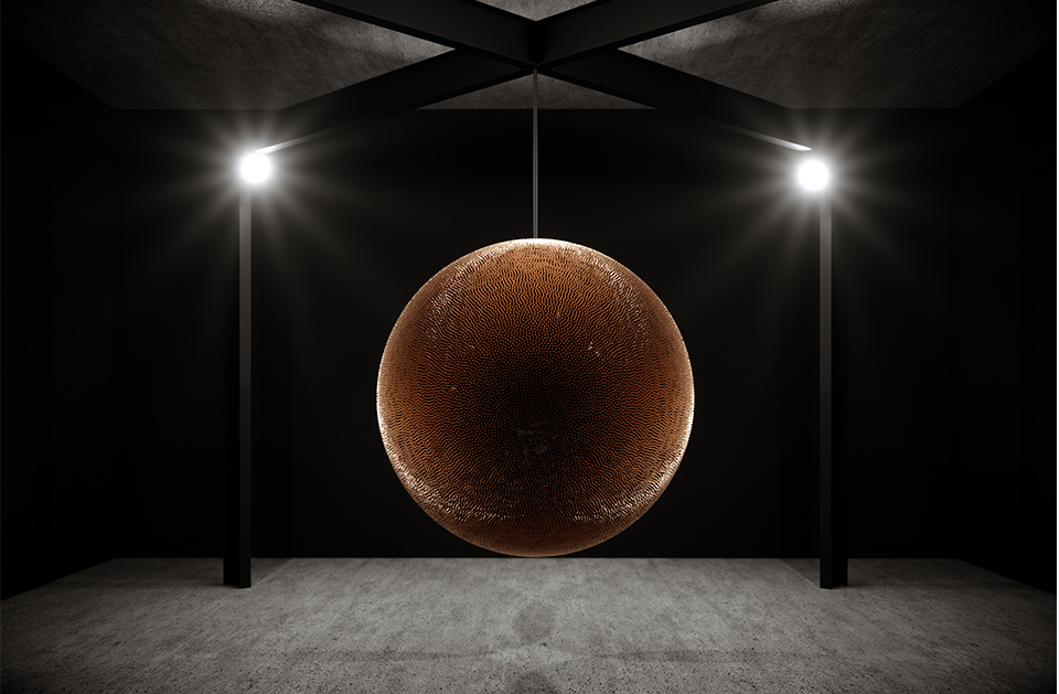 """Most Instagrammed at Art Basel:Rage and Hopelessness, by sculptor Robert Longo. This piece, which consists of 40,000 shell casings, is a frank comment on the US president's laissez-faire attitude to gun violence, which continues to claim victims even in peacetime. This minimalist object is one of many of his works that voice social critique; he targeted the Reagan administration in particular during the 80s. """"I just can't believe this shit is happening."""" As he himself commented on the subject of this work."""