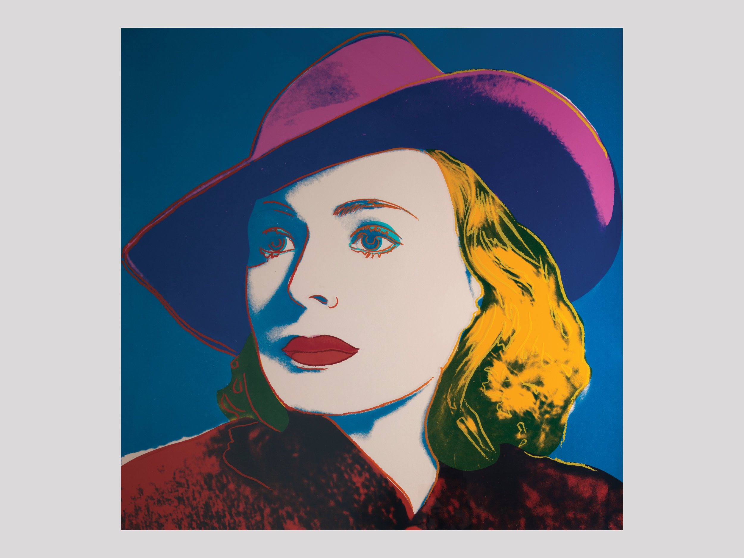 "Andy Warhol   Ingrid Bergman with hat  1983 Silkscreen in colours 91,4 x 91,4 cm Edition of 250 + 50 AP  Available   ""The famous Swedish Hollywood star Ingrid Bergman passed away in 1982, and shortly thereafter, Per Olov Börjeson, the founder of Galleri Börjesson in Malmö, contacted Andy Warhol to discuss the possibility of commemorating her legacy with a print. The result was the triptych  Ingrid Bergman , which includes three different portraits of her ( Herself, the Nun, with Hat ) and was published in 1983. The set was sold complete or as individual prints. The most popular of the three portraits, all chosen from her major film roles, was  Ingrid Bergman with Hat . It is the visually most striking of the portraits, and the photo depicts her in her role as Ilsa Lund in  Casablanca  (1942), in which she starred against Humphrey Bogart."""