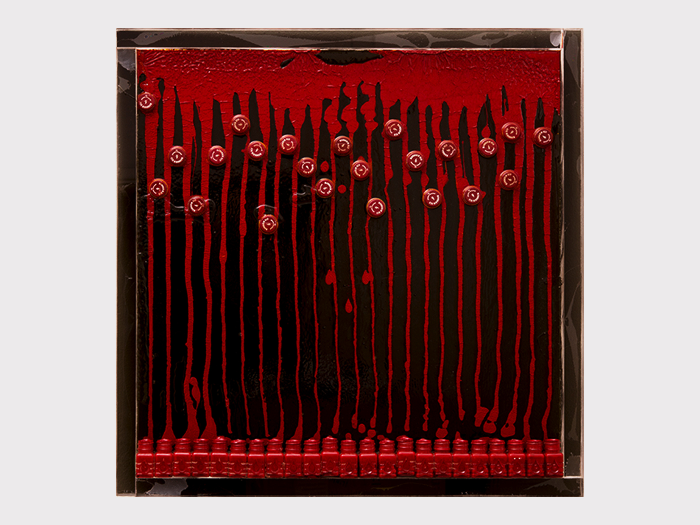 "Arman  Untitled (Mandarin Red) , 1968 Accumulation of acrylic paint, paint bottles and caps in resin on Plexiglas 61 x 61 cm  ""An incredibly beautiful painting, which was ""painted"" by allowing the paint – a colour that looks almost like bright red nail polish – to run out of the tube. The red also echoes the year 1968, when this work was created. It's vibrantly exuberant – Arman loved colour, and van Gogh was his big hero. He even began to sign his works with his first name,  'Arman' , just like  'Vincent' . However, he didn't do any actual painting himself, instead, giving the force of the colour free reign, allowing it to be independent."""
