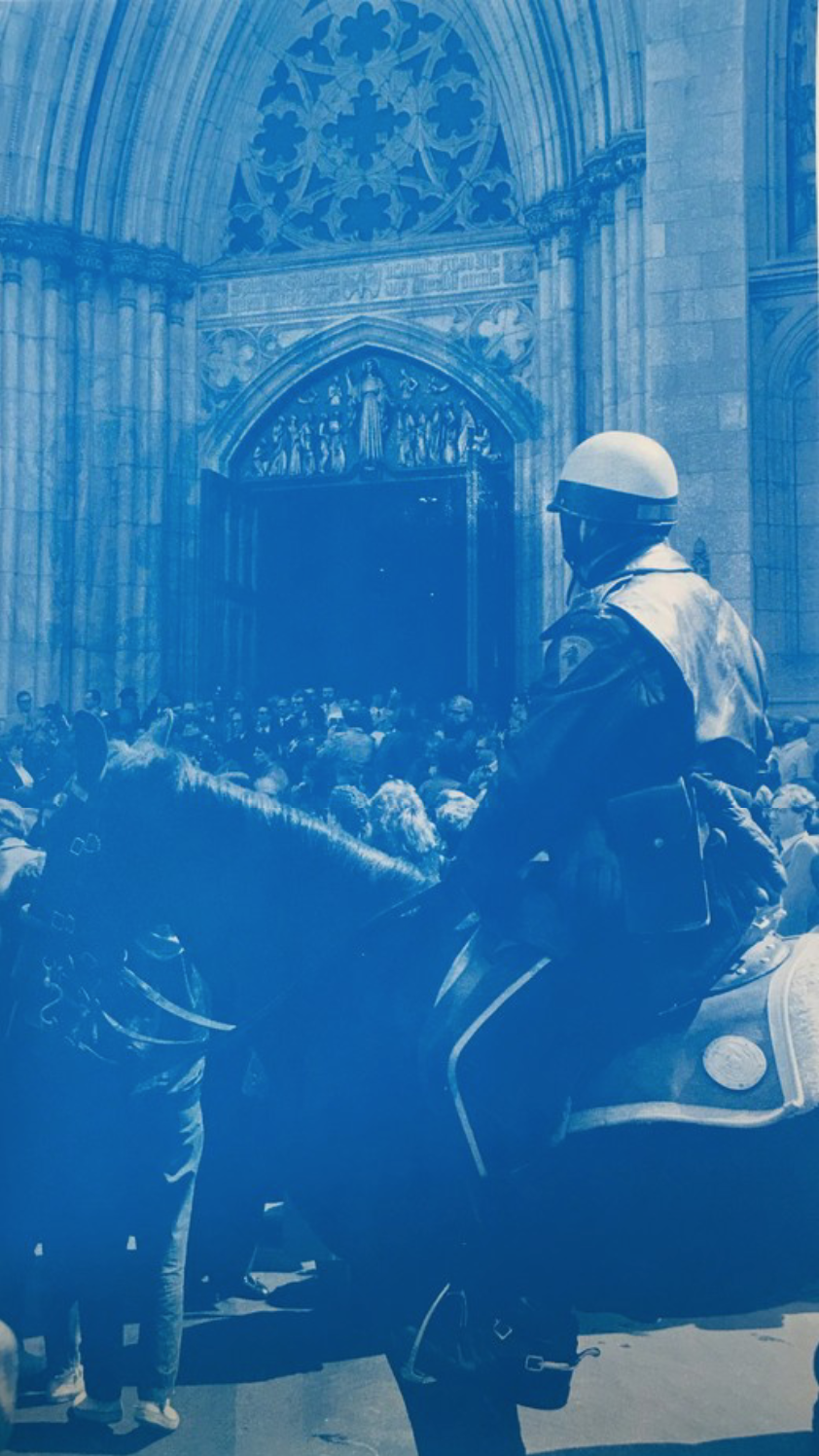 Christophe Von Hohenberg   Andy Warhol Memorial, 1987:    Mounted Patrol at St. Patrick's Cathedral   Digital Print on Hahnemühle 55.9 x 43.2 cm