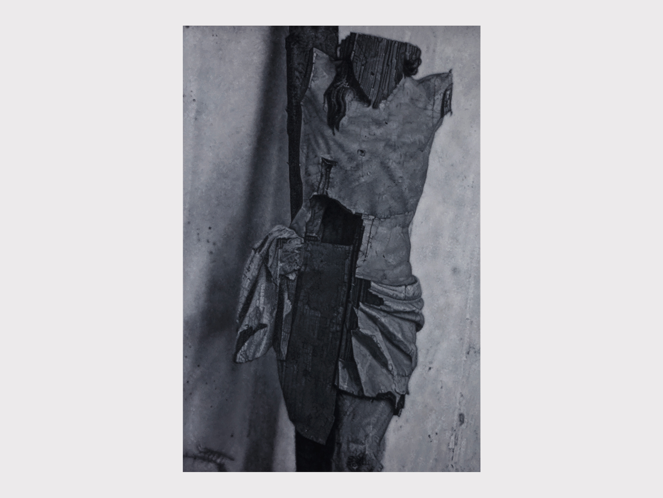 """Tomas Lundgren   Simulacra II , 2017–18 Oil on canvas 210 x 140 cm  """"The word 'simulacrum' (plur. 'simulacra') refers to something that represents or imitates something else. This is obviously a broken wooden crucifix, maybe from the Middle Ages. Jesus on the cross is a representation of the pain and evil that are inherent to the human condition. This representation of his battered body has endured a second round of abuse, this time by oblivion and decay. New injuries have been added to old."""""""