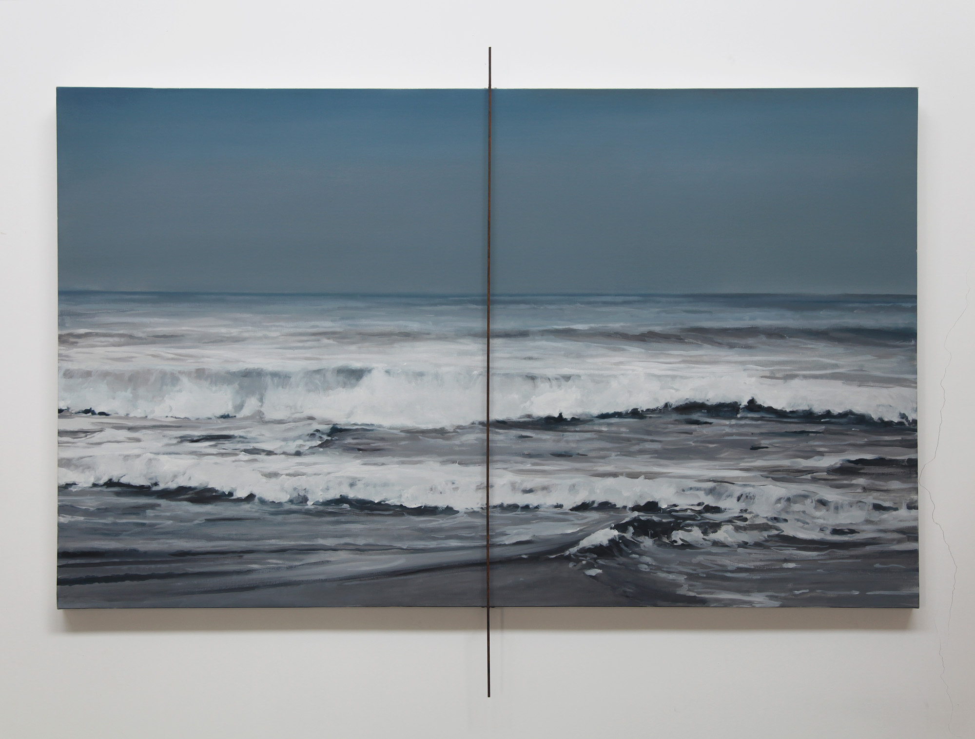 Gao Weigang   Struggler 20180205 , 2018 Oil on canvas, iron 120 x 200 cm