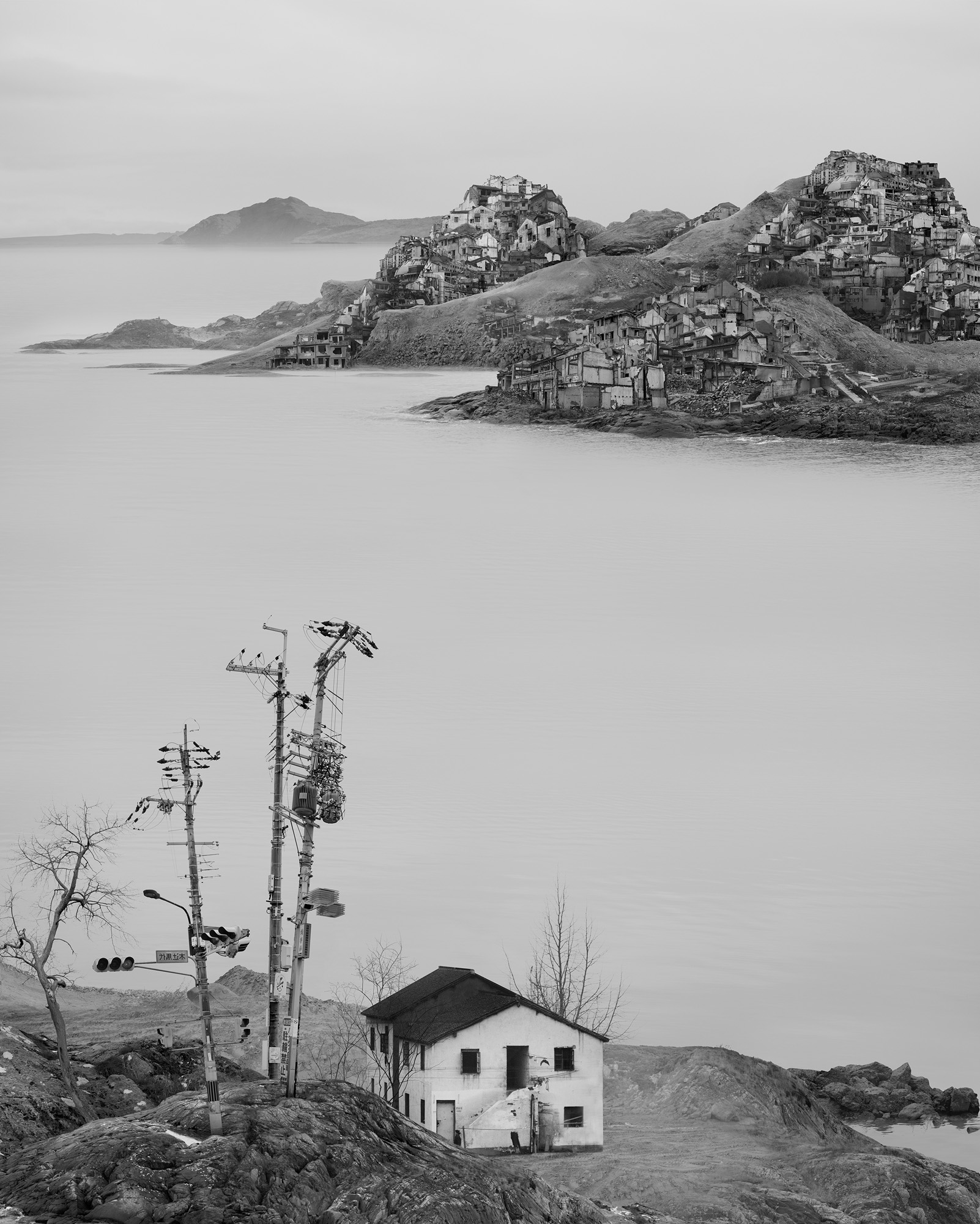 Yang Yongliang   Lone House , 2016 Giclee print on fine art paper 100 x 80 cm Edition 4/5