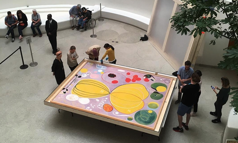 Hilma of Klints painting arrives at the Guggenheim in New York. Picture from  @castrocastles .