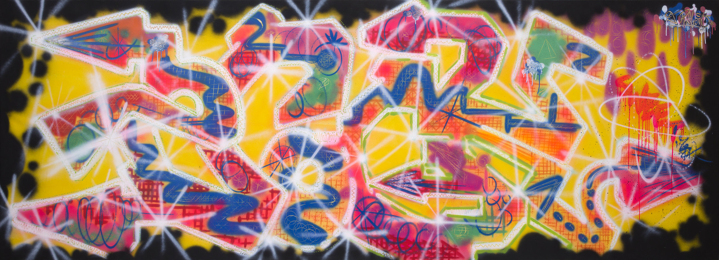 ERO   Sweet treat  1984 Spray paint on canvas 124 x 342 cm