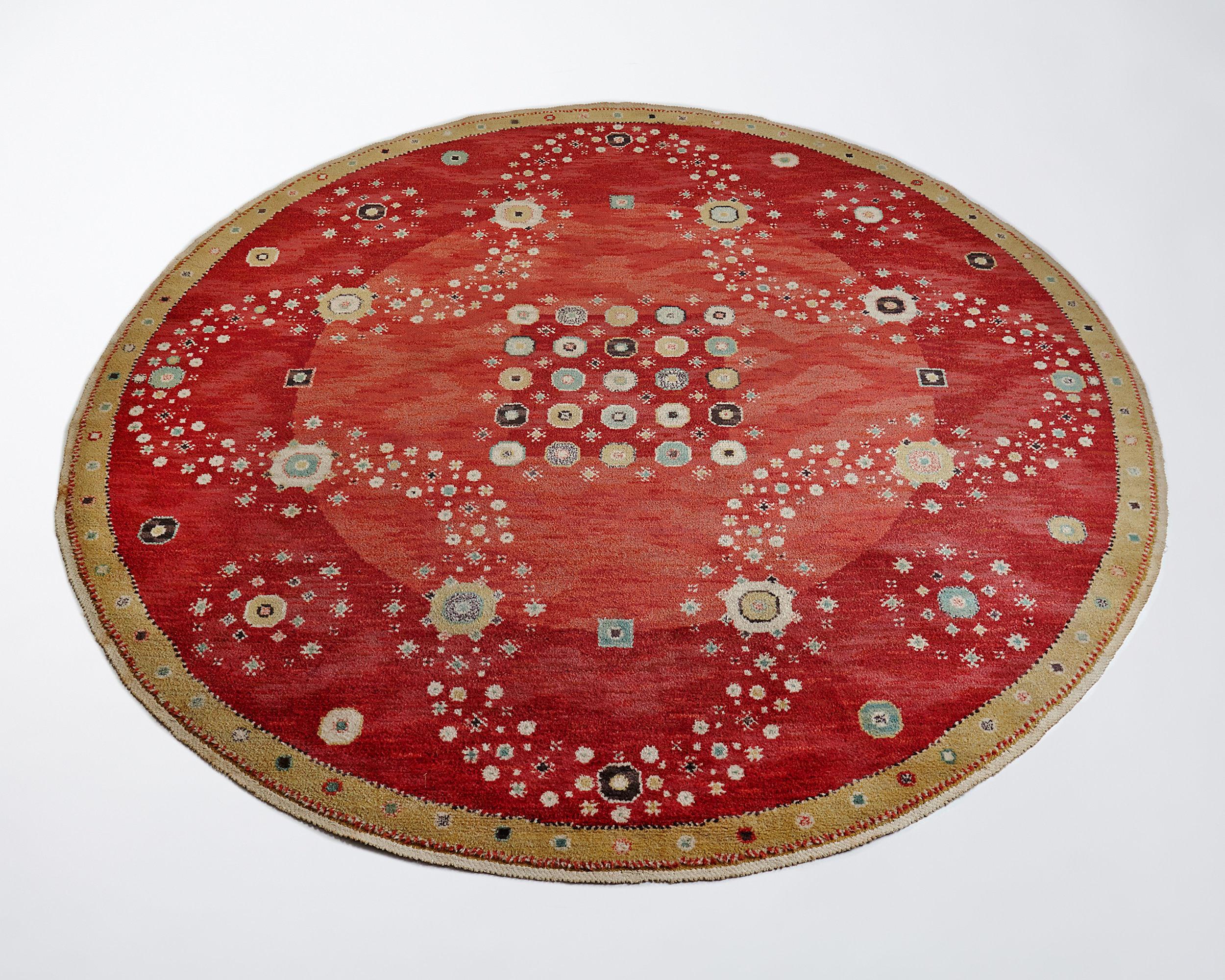 Barbro Nilsson, MMF  Red Flowerbed Sweden, 1944 Handwoven wool. Pile technique. Diameter: 290 cm
