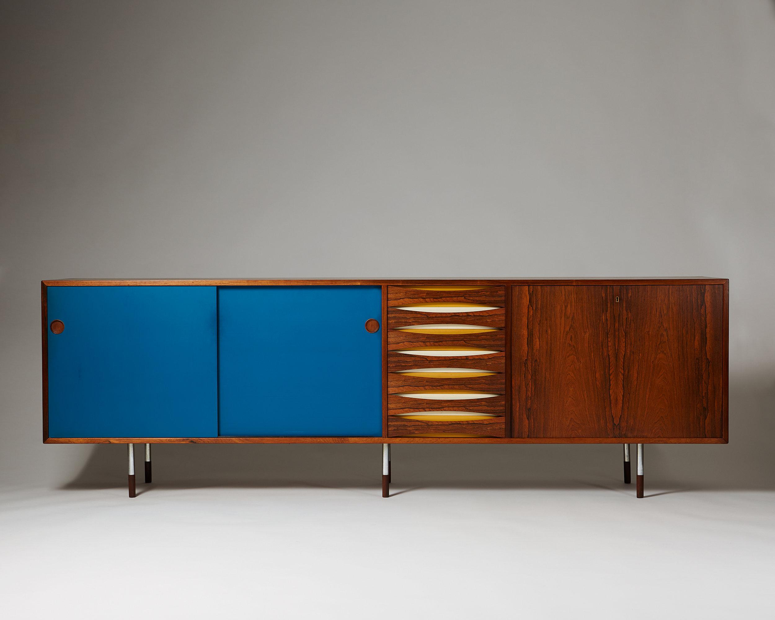 Arne Vodder  Sideboard, Credenza, model 29A  Denmark, 1958-1959  Rosewood, paint and steel 80,5 x 250 x 47 cm