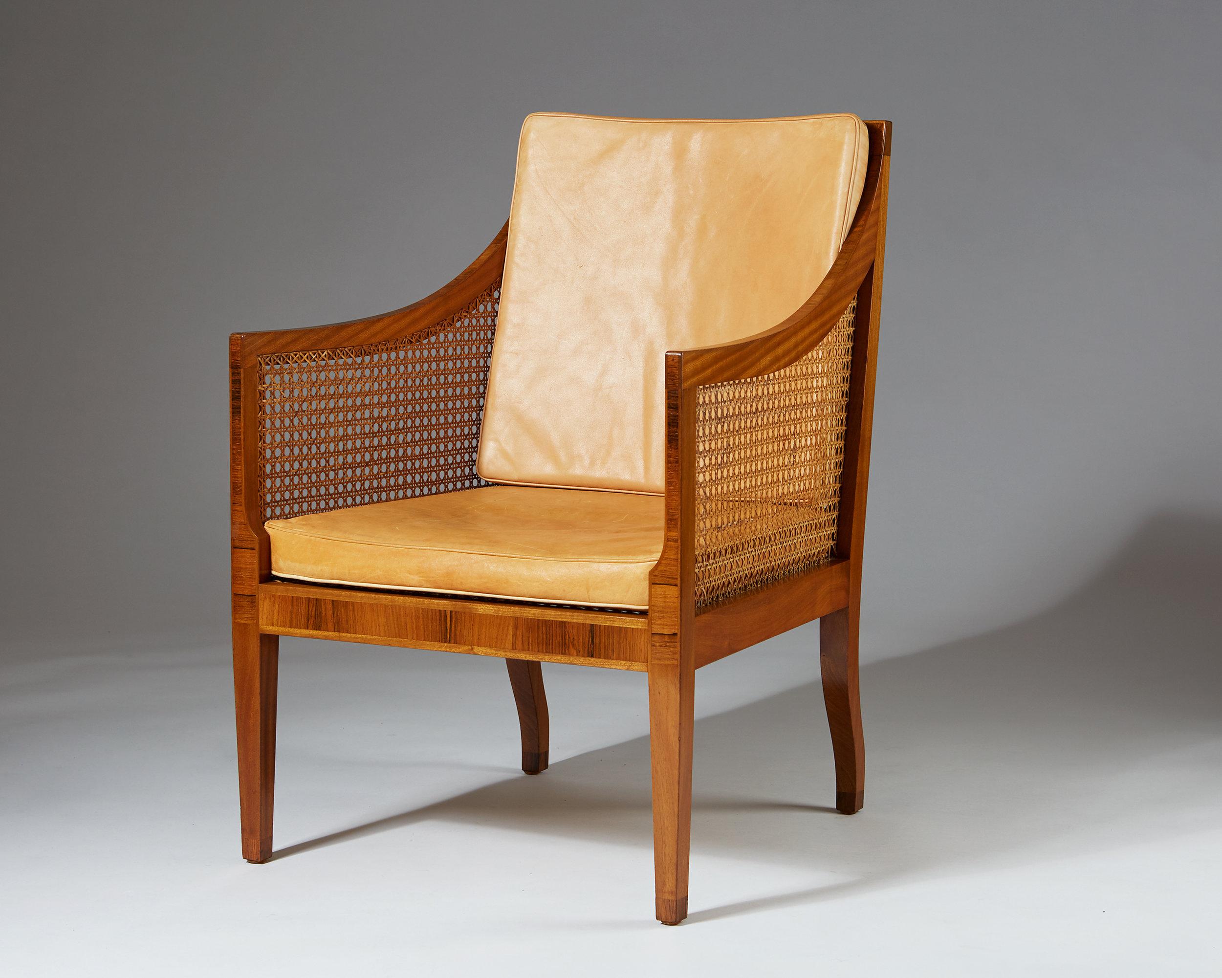 Kaare Klint  Armchair model 4488 Denmark, 1931 Mahogany with Brazilian rosewood inlays, woven cane and aniline leather. 90,5 x 75 x 61,5 cm Seat: 43 cm Armrest: 65 cm