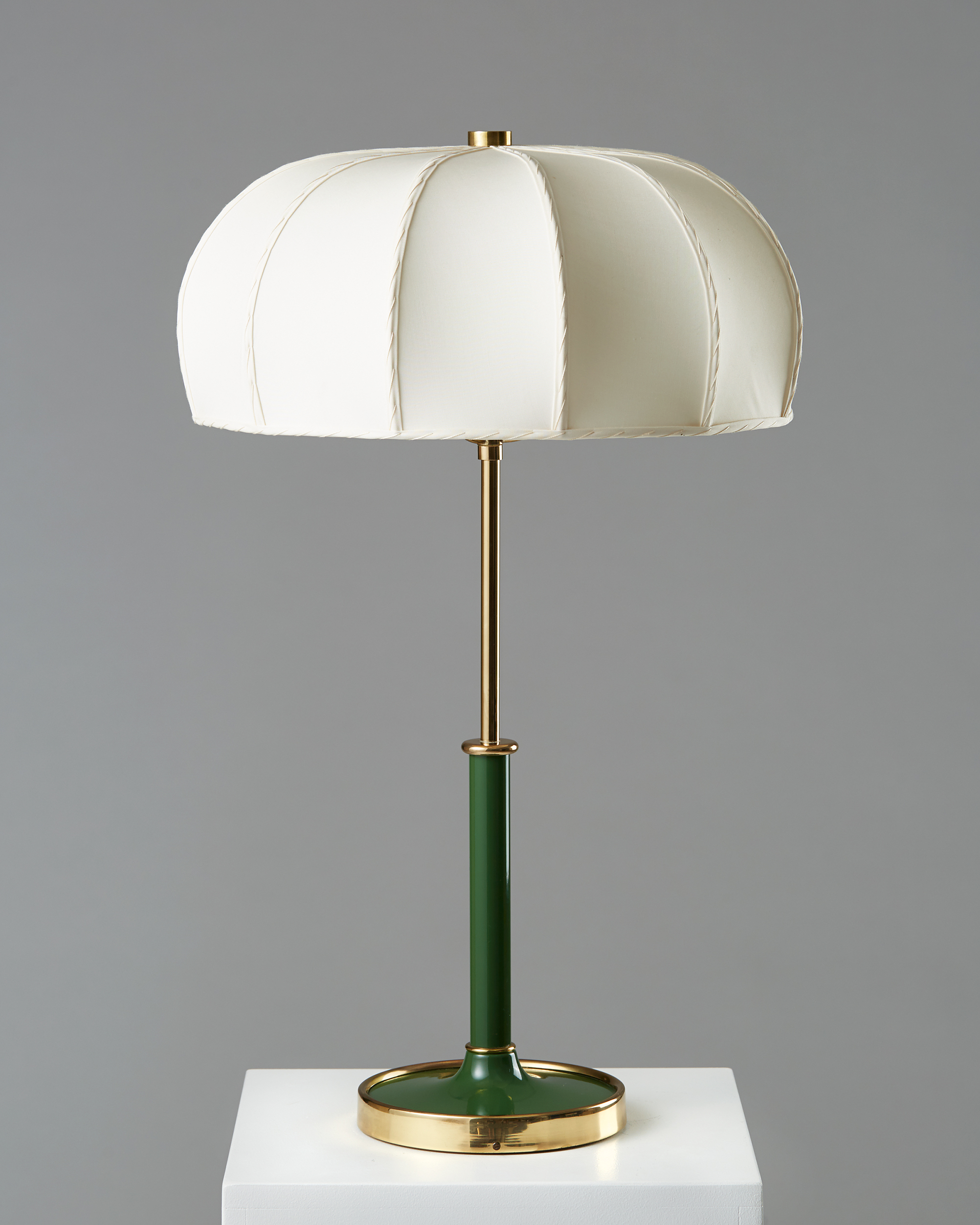 Josef Frank  Table lamp model 2466 Sweden, 1950's Brass and lacquer with fabric shade. 67 x 43 cm