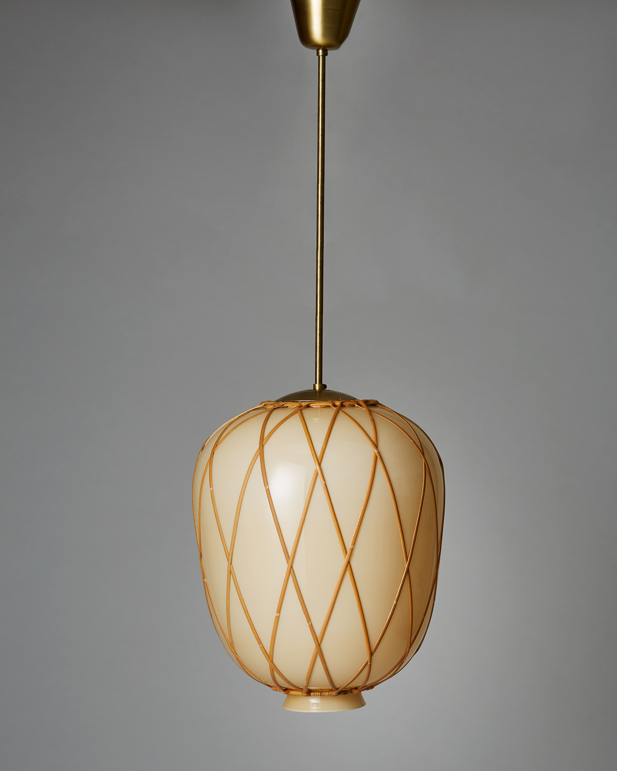 Carl Westman  Ceiling lamp Sweden, 1920's Mouth-blown glass, cane and brass.