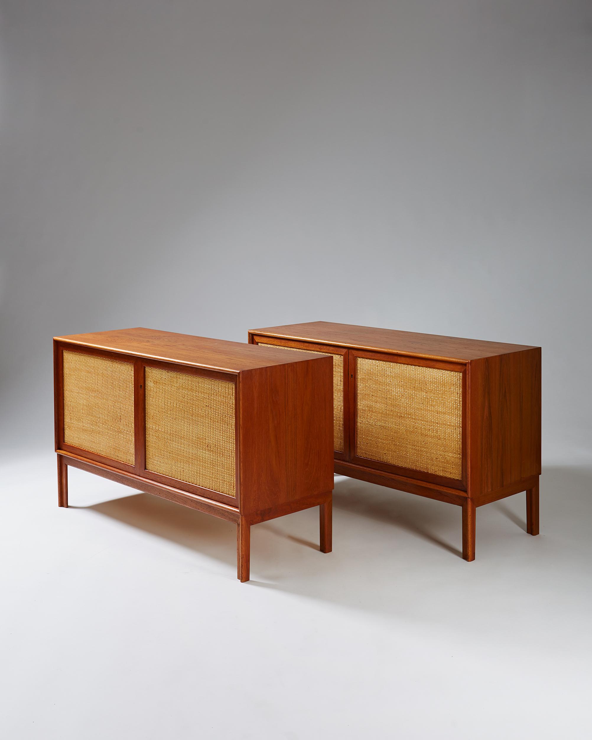 Alf Svensson  Pair of sideboards Sweden. 1950's Teak and cane. 72 x 120 x 45 cm