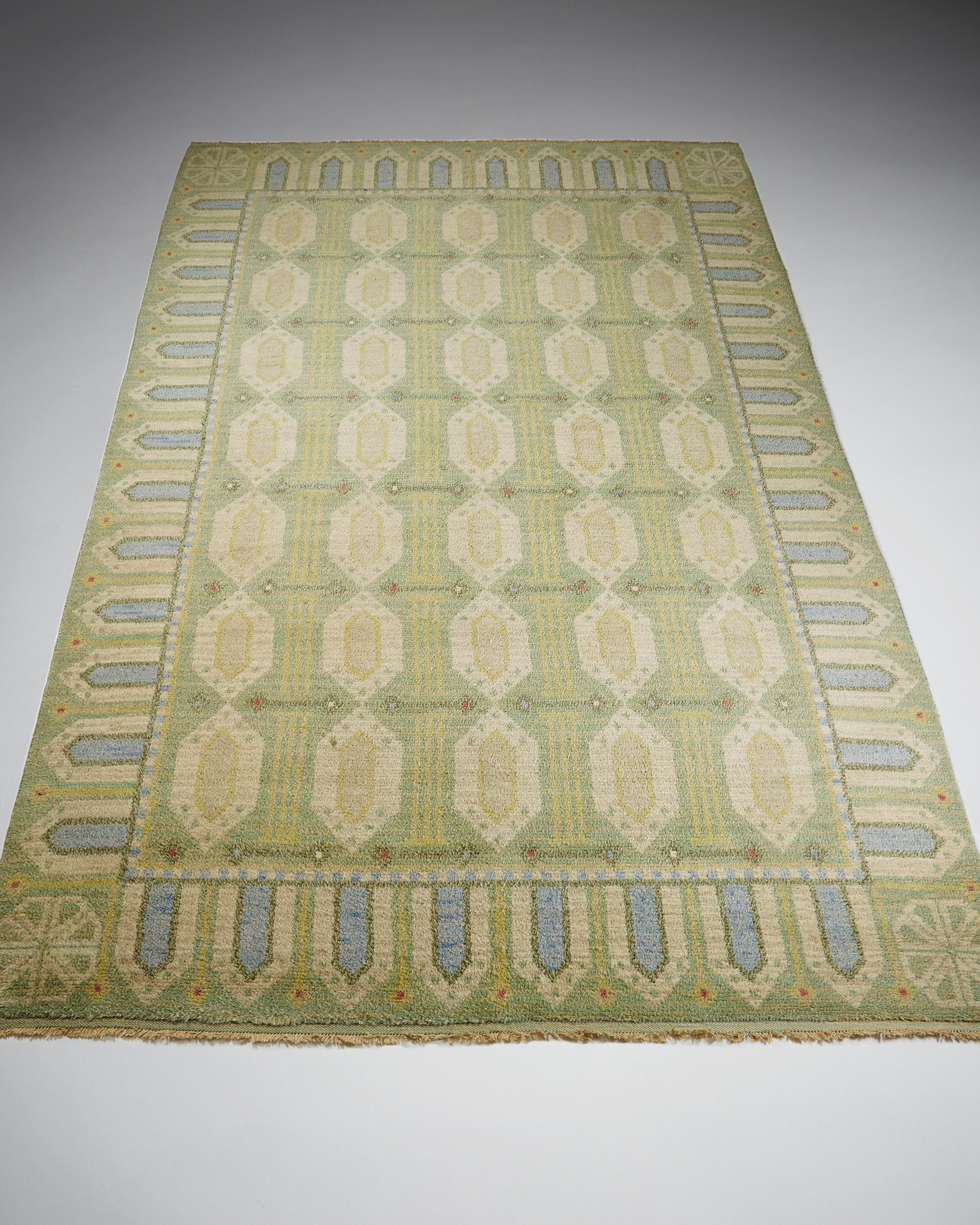 Konstfliten  Rug Sweden, 1930's Wool. Pile technique. 360 x 250 cm