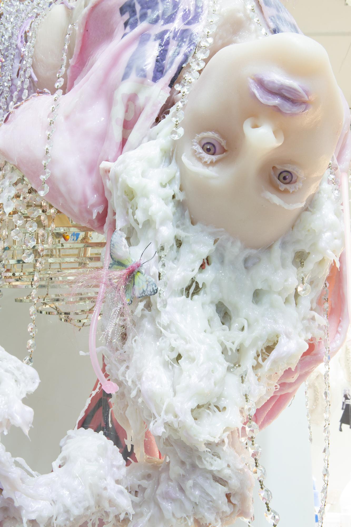 Cajsa von Zeipel   Butterfly Effect  2019 Chandelier, silicone, aqua resin, foam spray, fabric, bead curtains, sand, glitter 140 x 142 x 134.5 cm