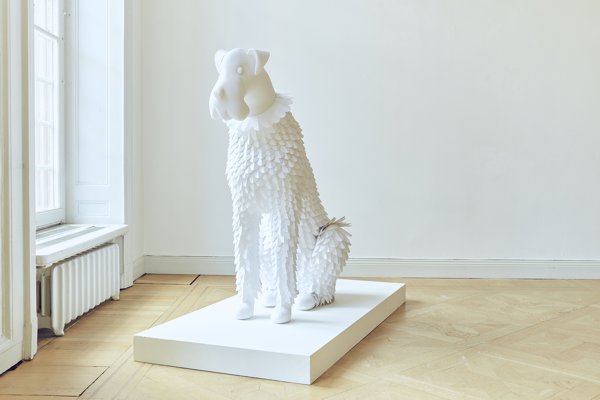 Dog #1 Paper and fabric 2019, Unique 110 x 142 x 60 cm