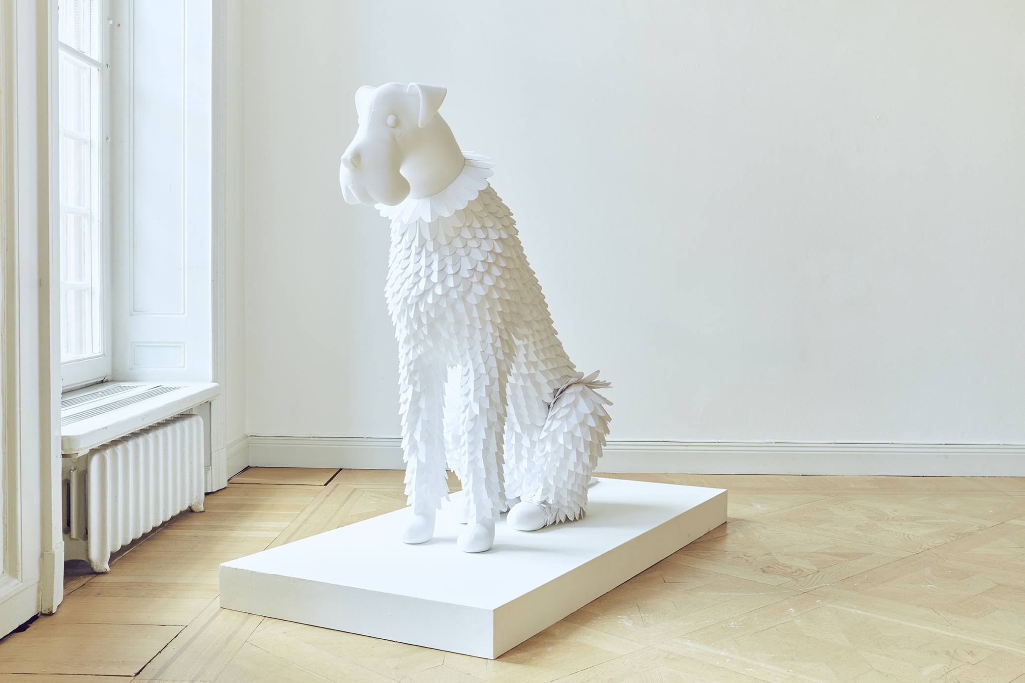 Dog #6 Paper and fabric 2019, Unique 110 x 142 x 60 cm