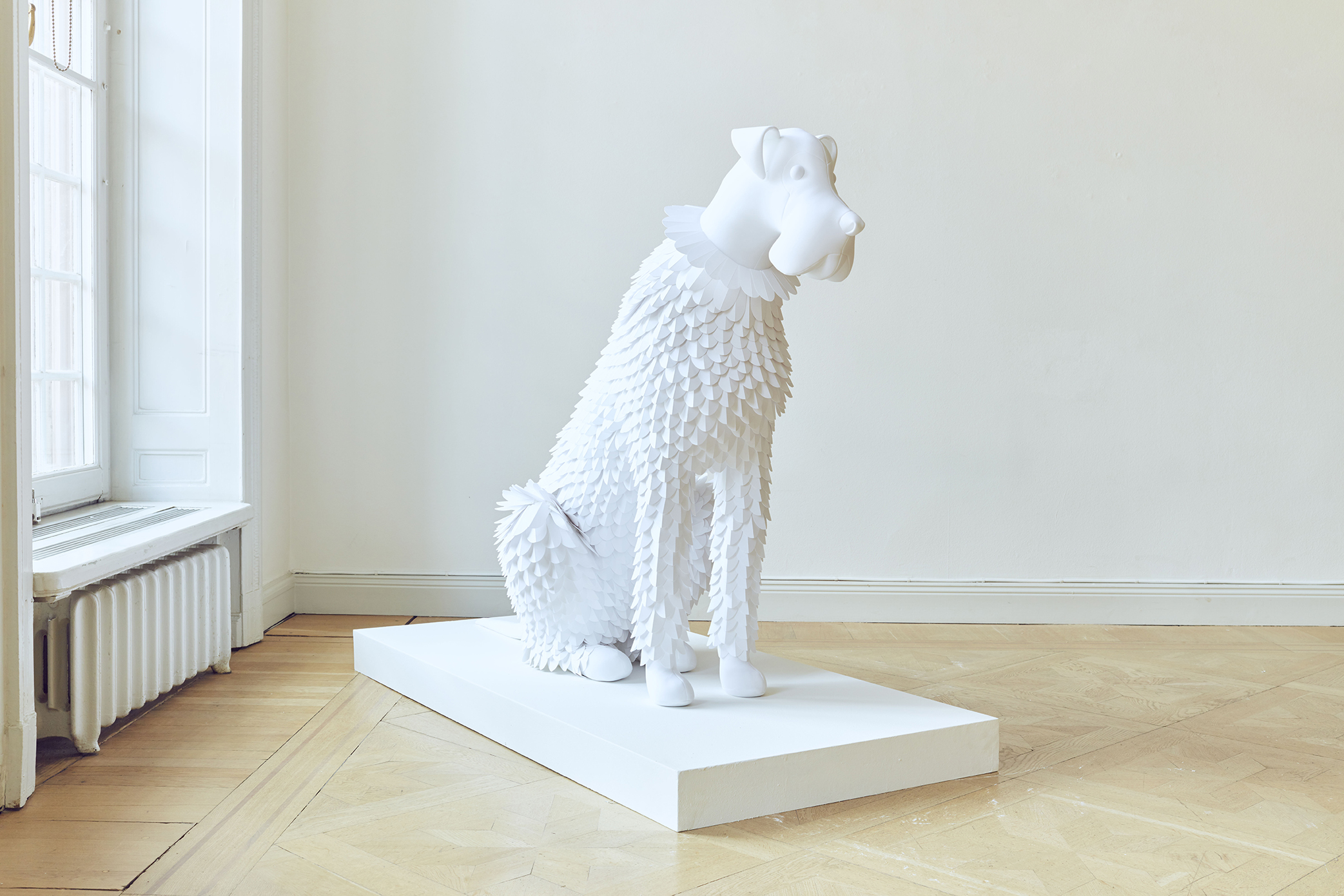 Dog #5 Paper and fabric 2019, Unique 110 x 142 x 60 cm