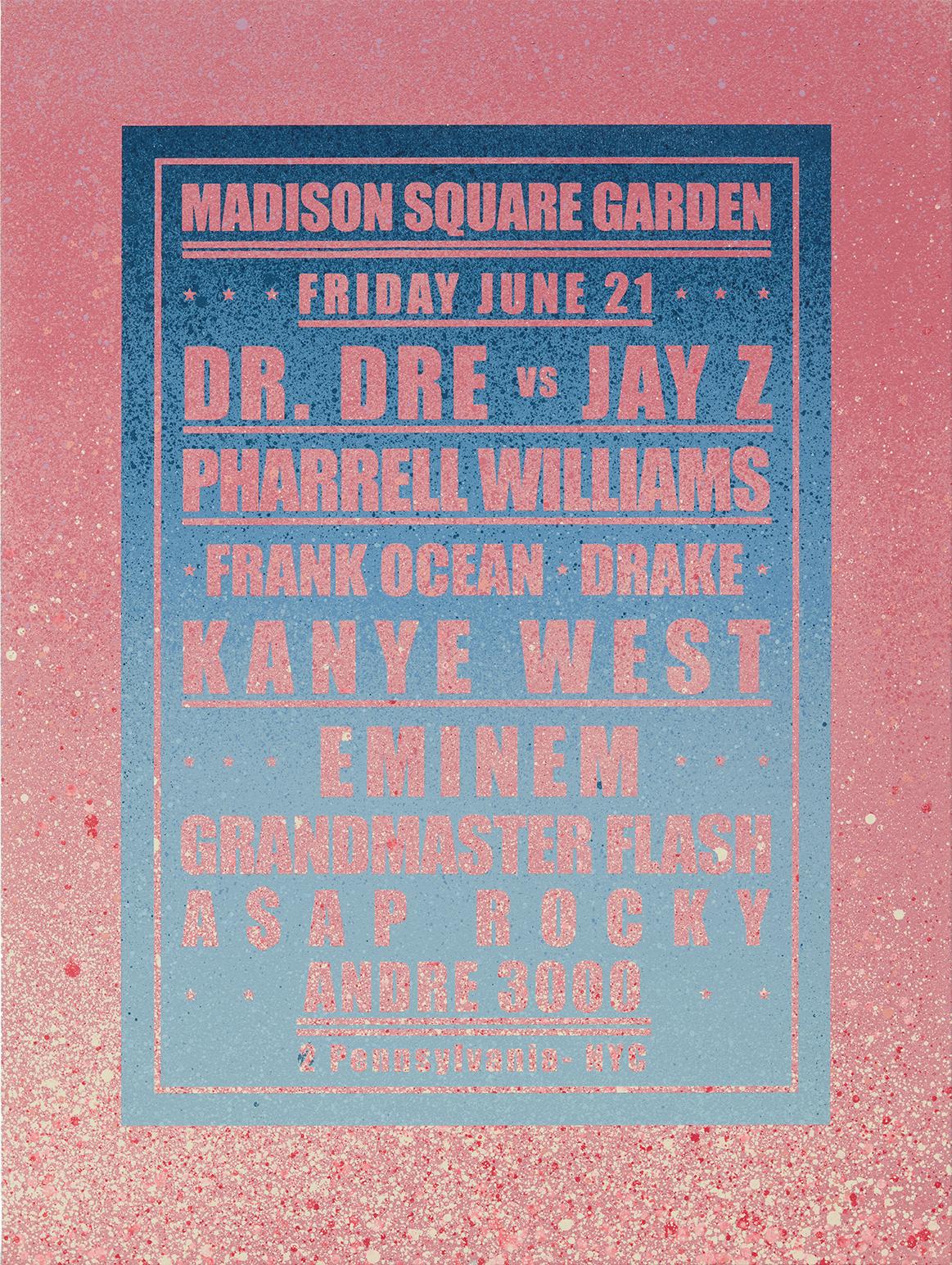Dream Concert / Madison Square Garden / Grandmaster Flash Acrylic and spray on canvas 2019, Unique 130 x 97 cm