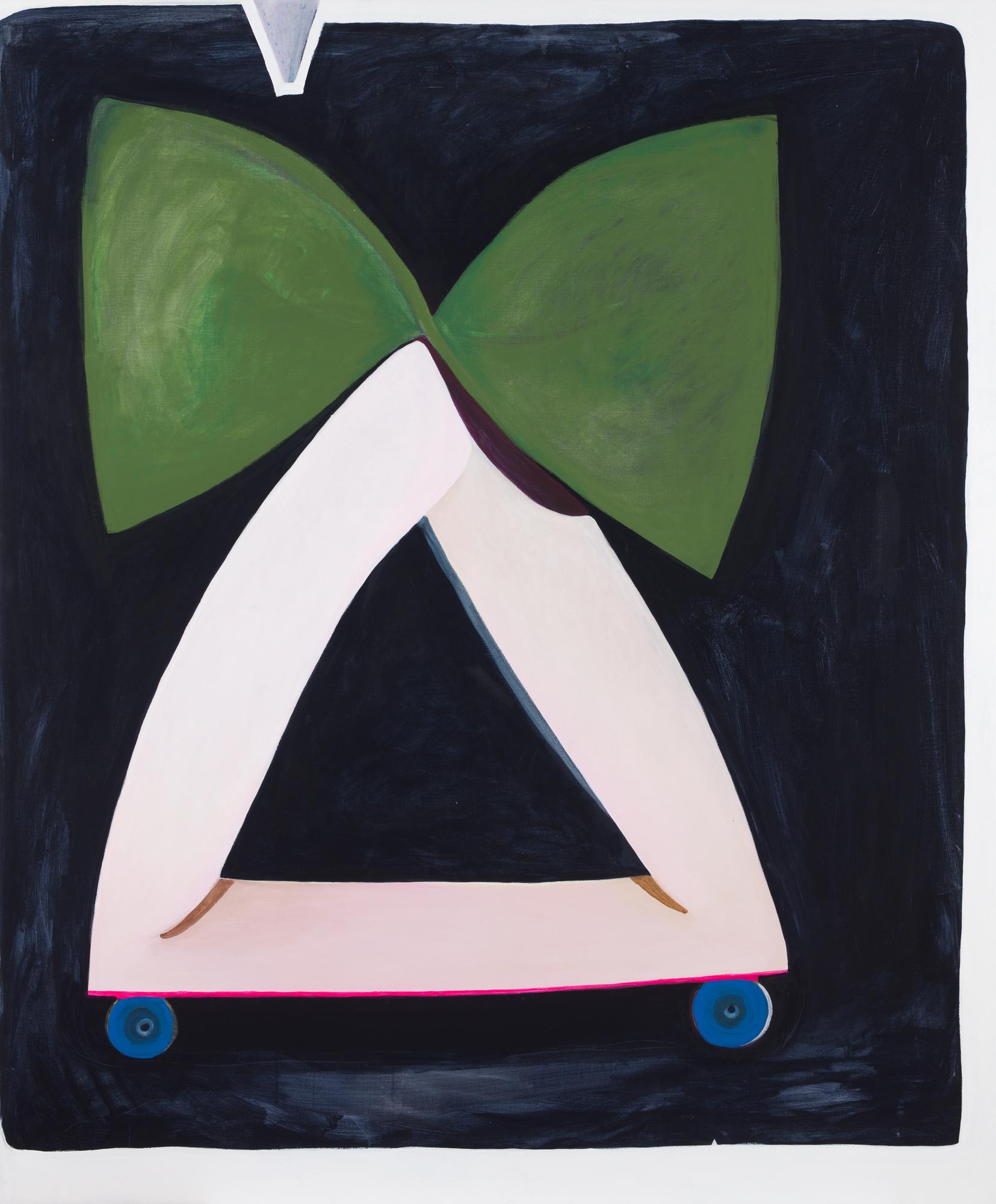 Pia Mauno  Duett med grön rosett  2018 Vinyl paint and oil on canvas 175 x 145 cm