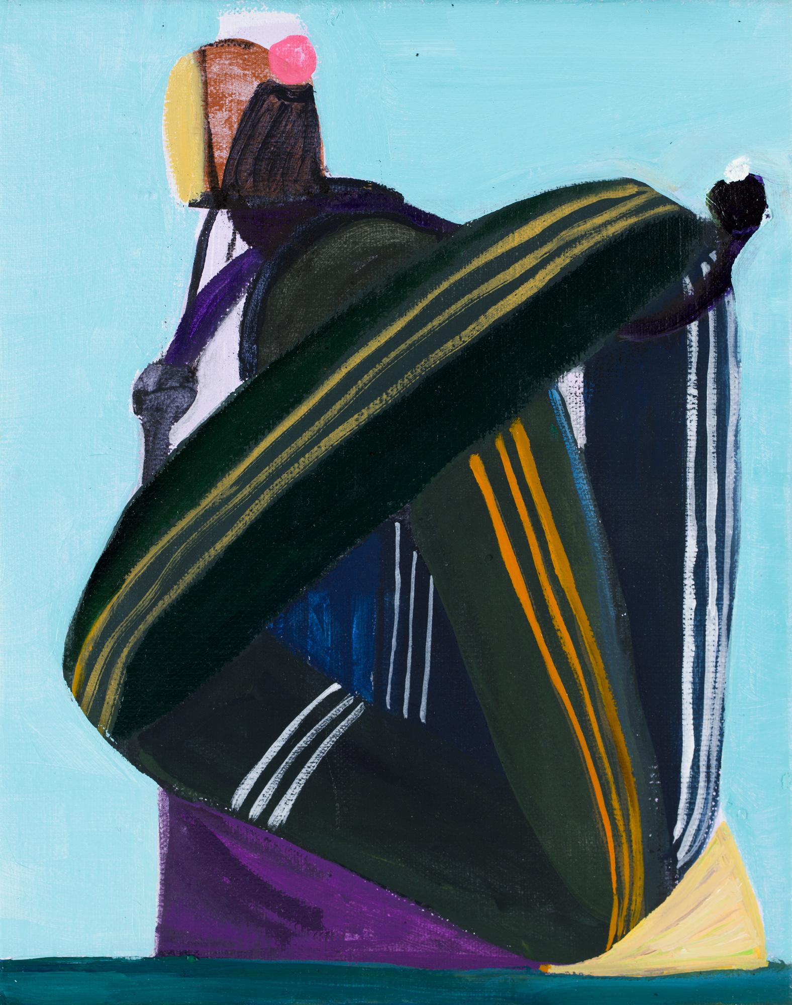 Pia Mauno  Adidas i idévärlden #6  2019 Vinyl paint and oil on canvas 24 x 19 cm