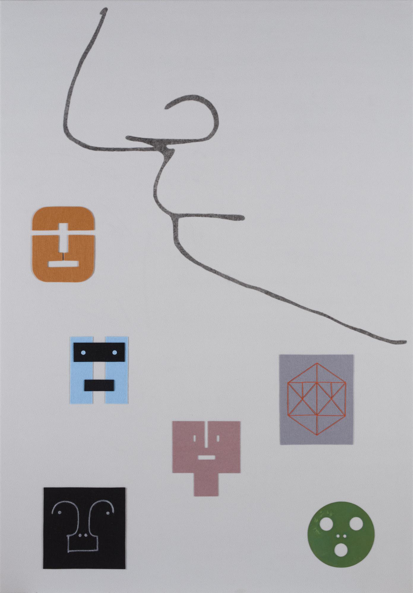 Norberg & Sundén  Faces  2018 Acrylic and collage on fleece 180 x 125 cm