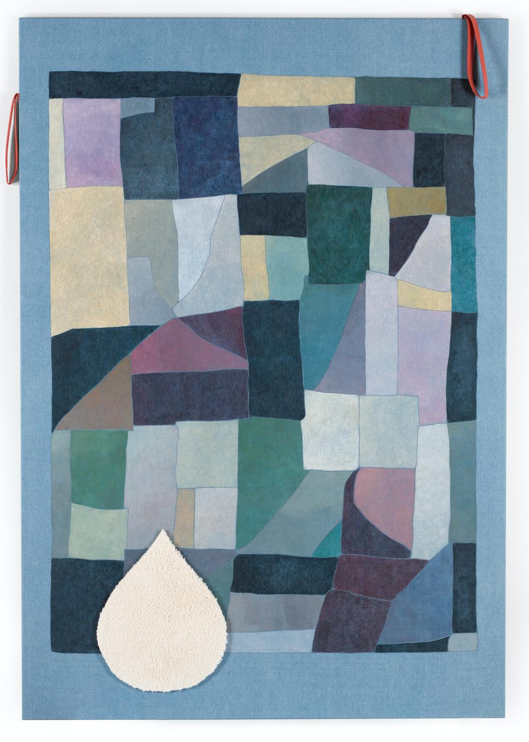 Norberg & Sundén   Blanket , 2018 Acrylic and collage on denim 180 x 125 cm