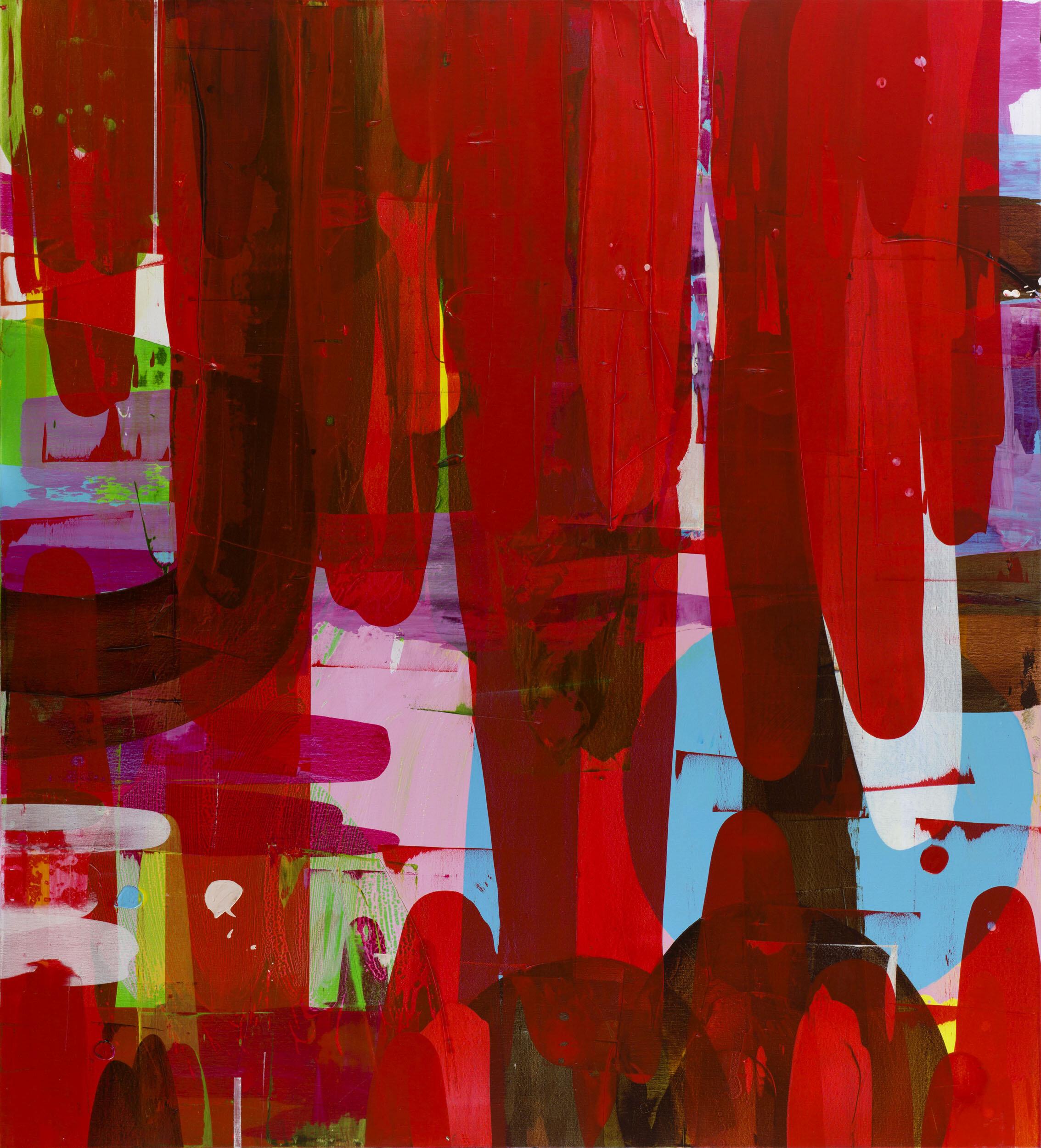 Astrid Sylwan   Love and all its glory  2010 Signerad och daterad a tergo  Akryl på duk 220 x 200 cm
