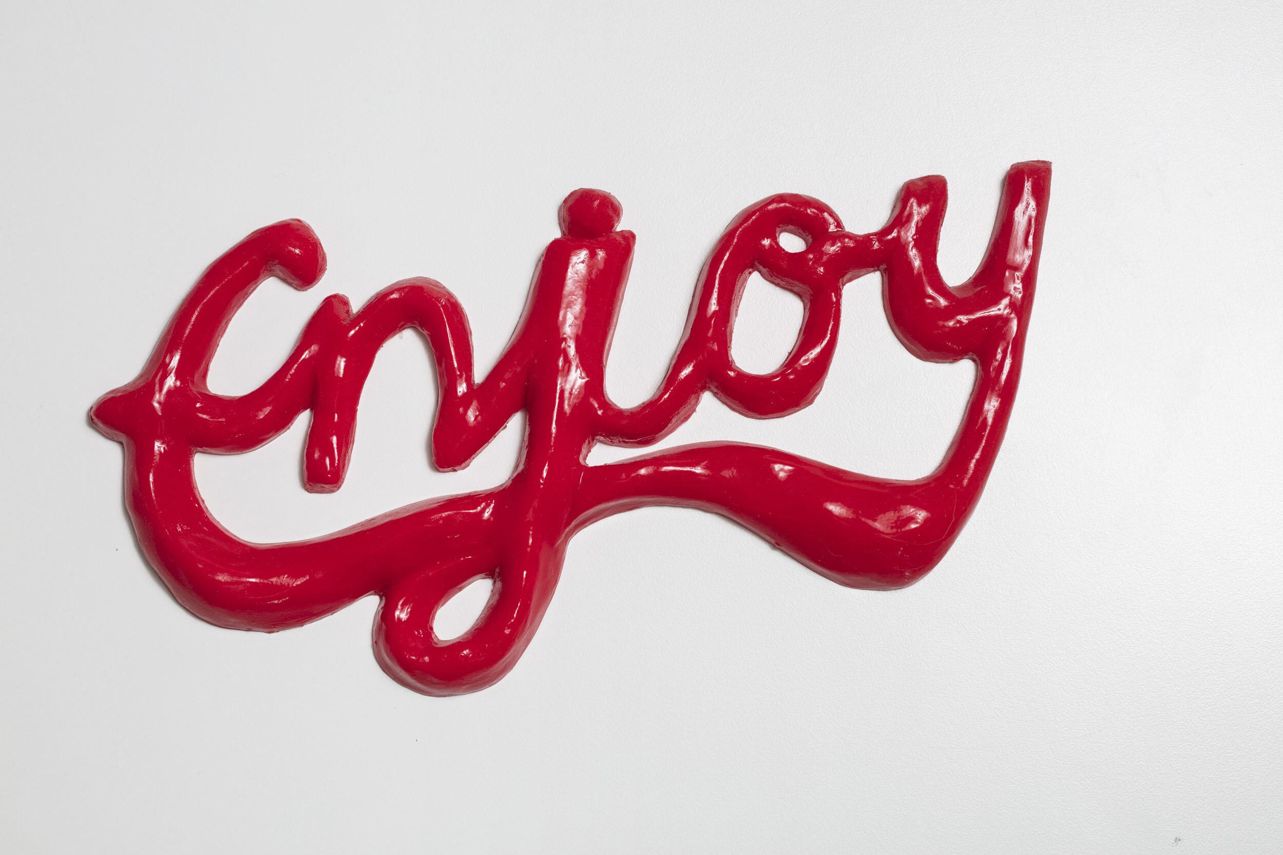 Rebecka Bebben Andersson   Enjoy  2013 Signerad, daterad och numrerad 6/10 a tergo  Röd silikon 16,5 x 33 cm