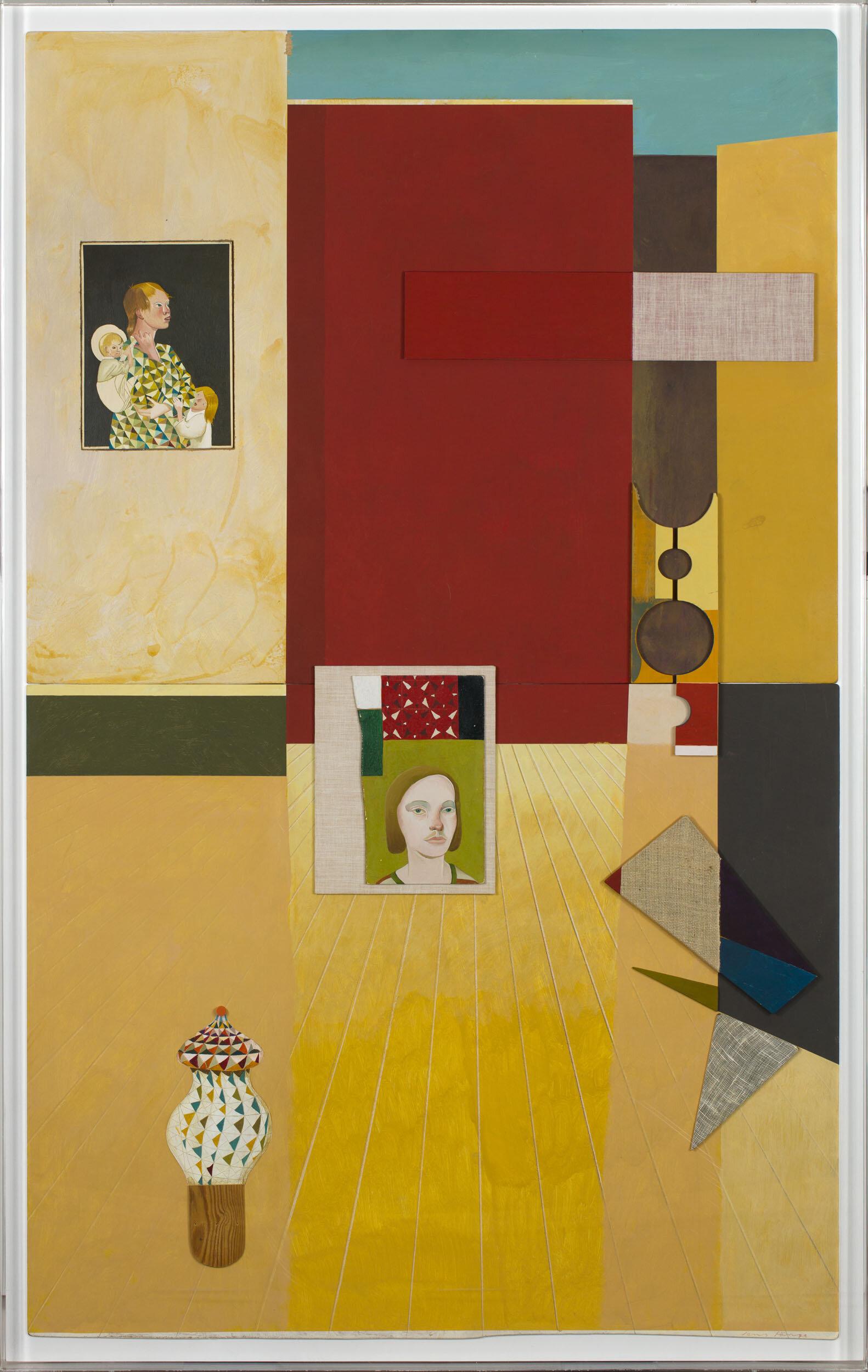Jens Fänge   Liten pjäs för fyra  2013 Signerad och daterad  Assemblage, olja, vinyl, textil  och trä på pannå 144 x 92 x 5,5 cm
