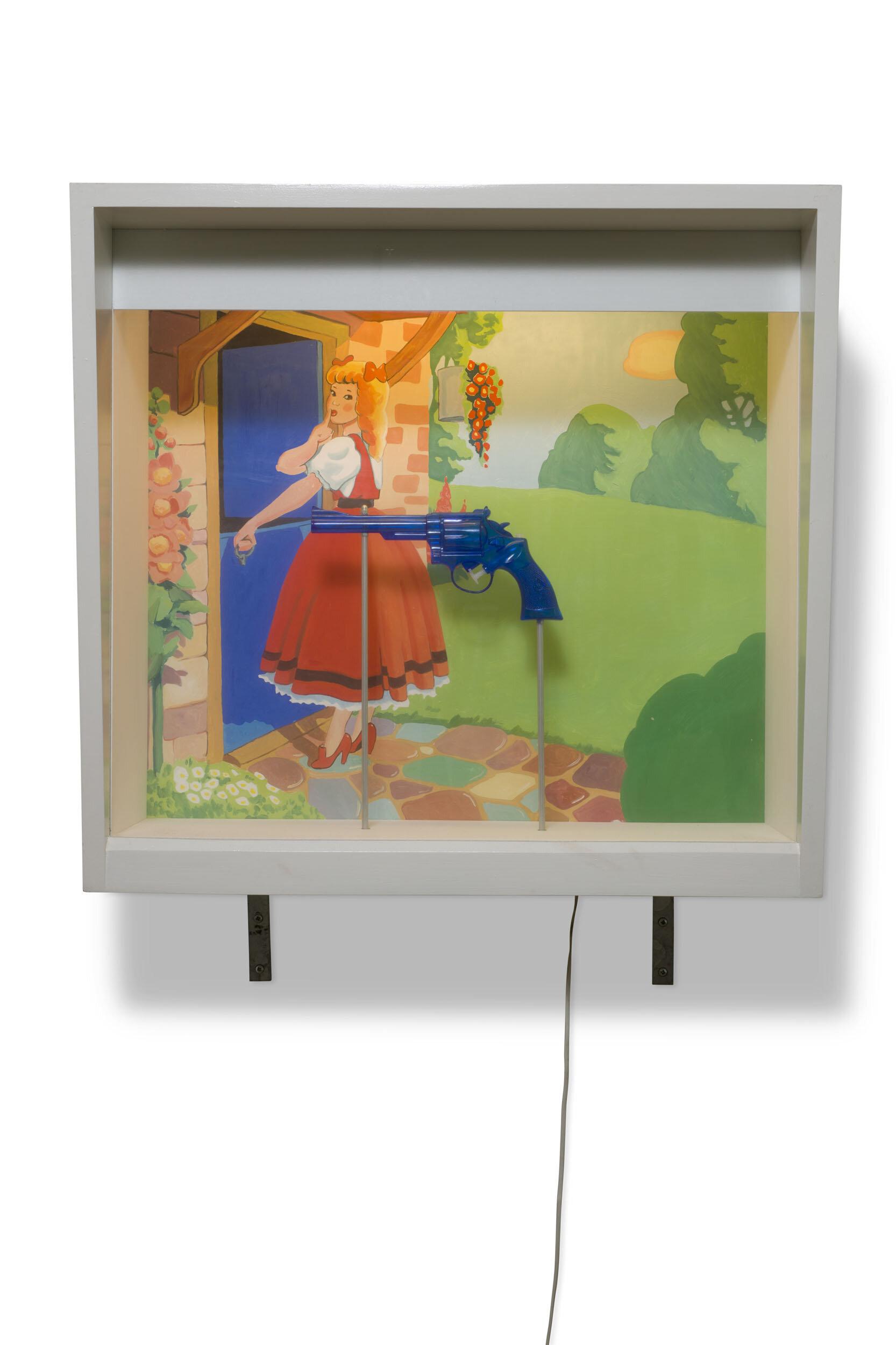 Martin Wickström   Fairyland I  1989 Signerad och daterad a tergo  Olja på masonit, MDF-låda, glas,  plast, metall, belysning, el  72,5 x 77,5 x 33 cm