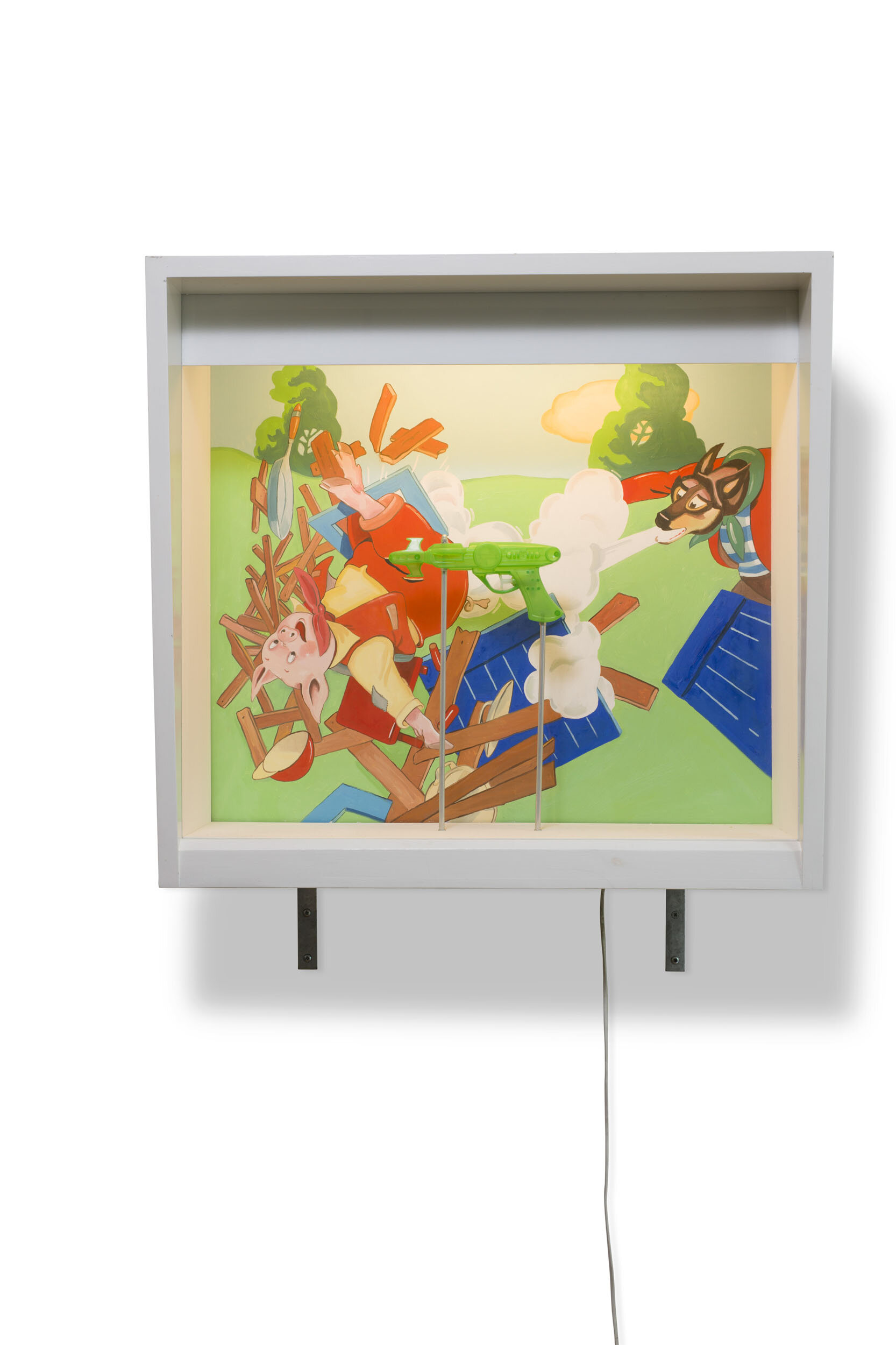 Martin Wickström   Fairyland III  1989 Signerad och daterad a tergo Olja på masonit, MDF-låda, glas, plast, metall, belysning, el 72,5 x 77,5 x 33 cm