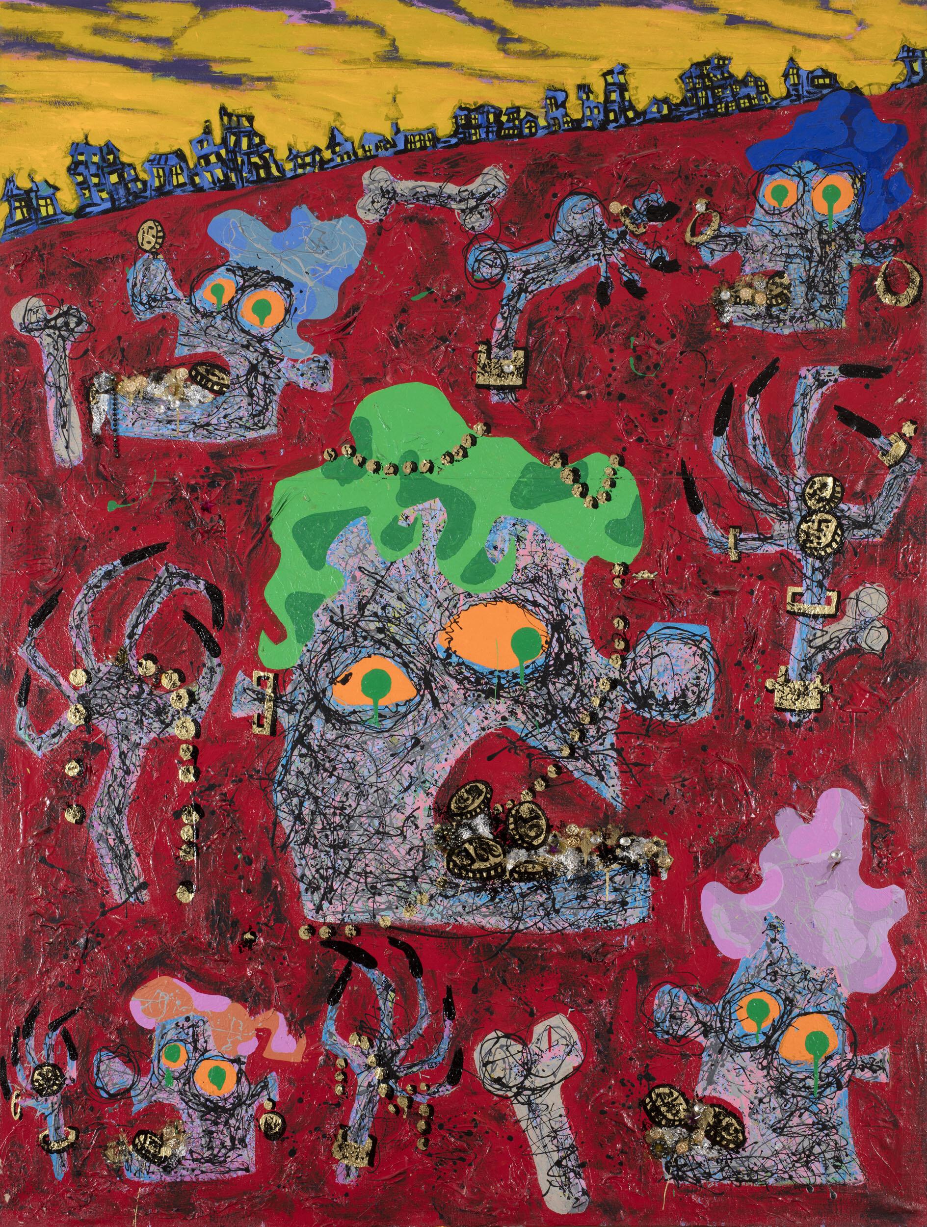 Kristina Abelli Elander   Babylon babies  1987 Signerad och daterad Akryl och assemblage på duk, diptyk Vardera  200 x 150 cm