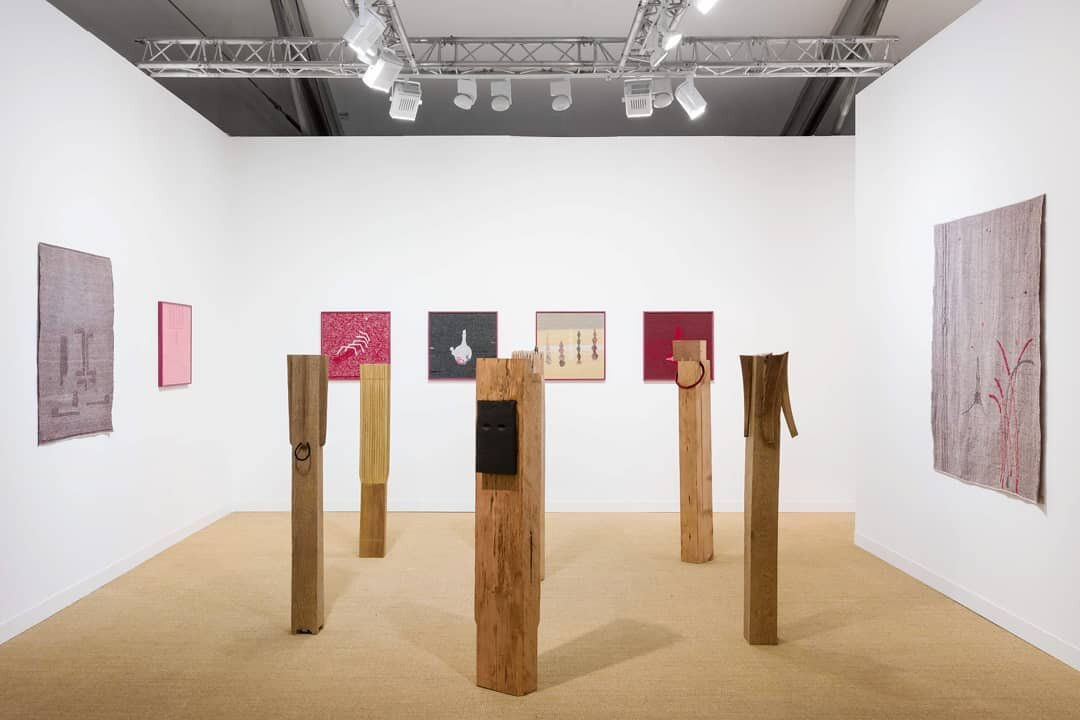 Installation views: Presentation of solo projects by artist  Mamma Andersson  and Brazilian artist  Tonico Lemos Auad . Stephen Friedman Gallery, Stand C10 at Frieze London. Courtesy Stephen Friedman Gallery.