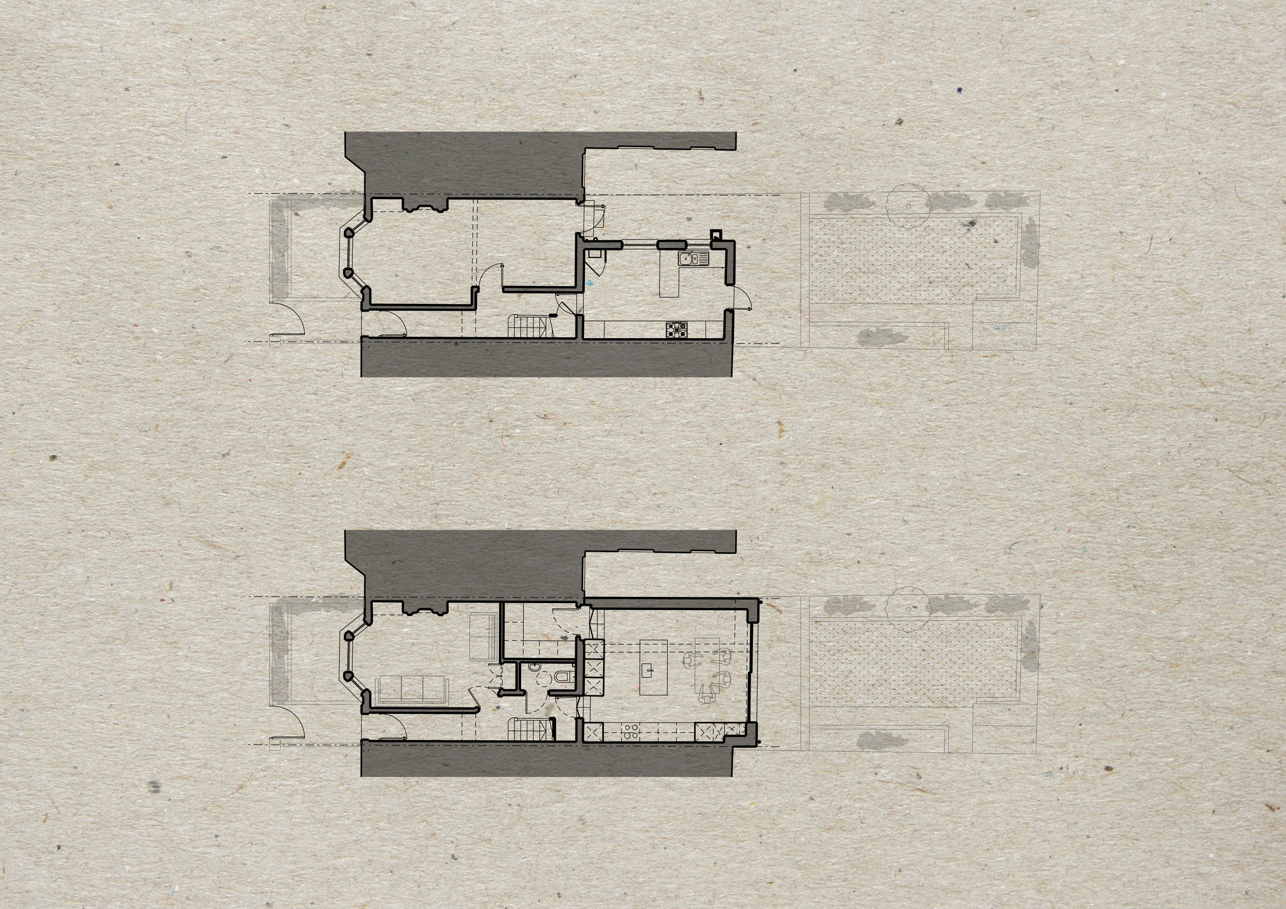 Existing (top) and Proposed (bottom) Plans
