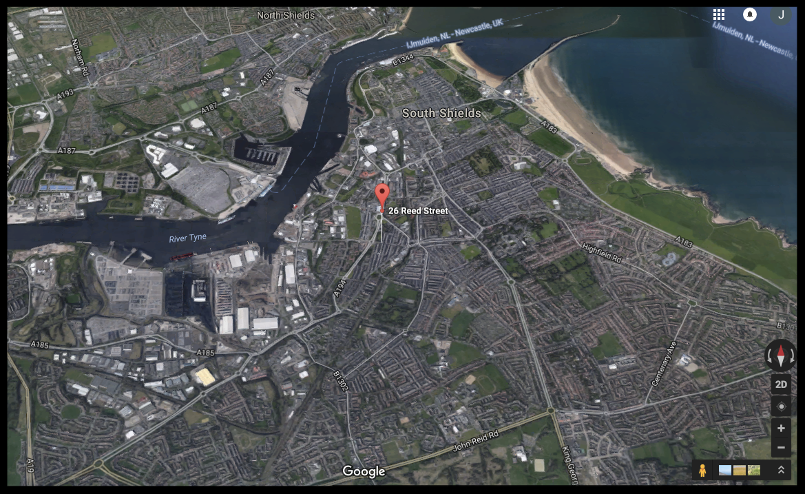 Screenshot of a Google Earth image of the location at which Michael was born
