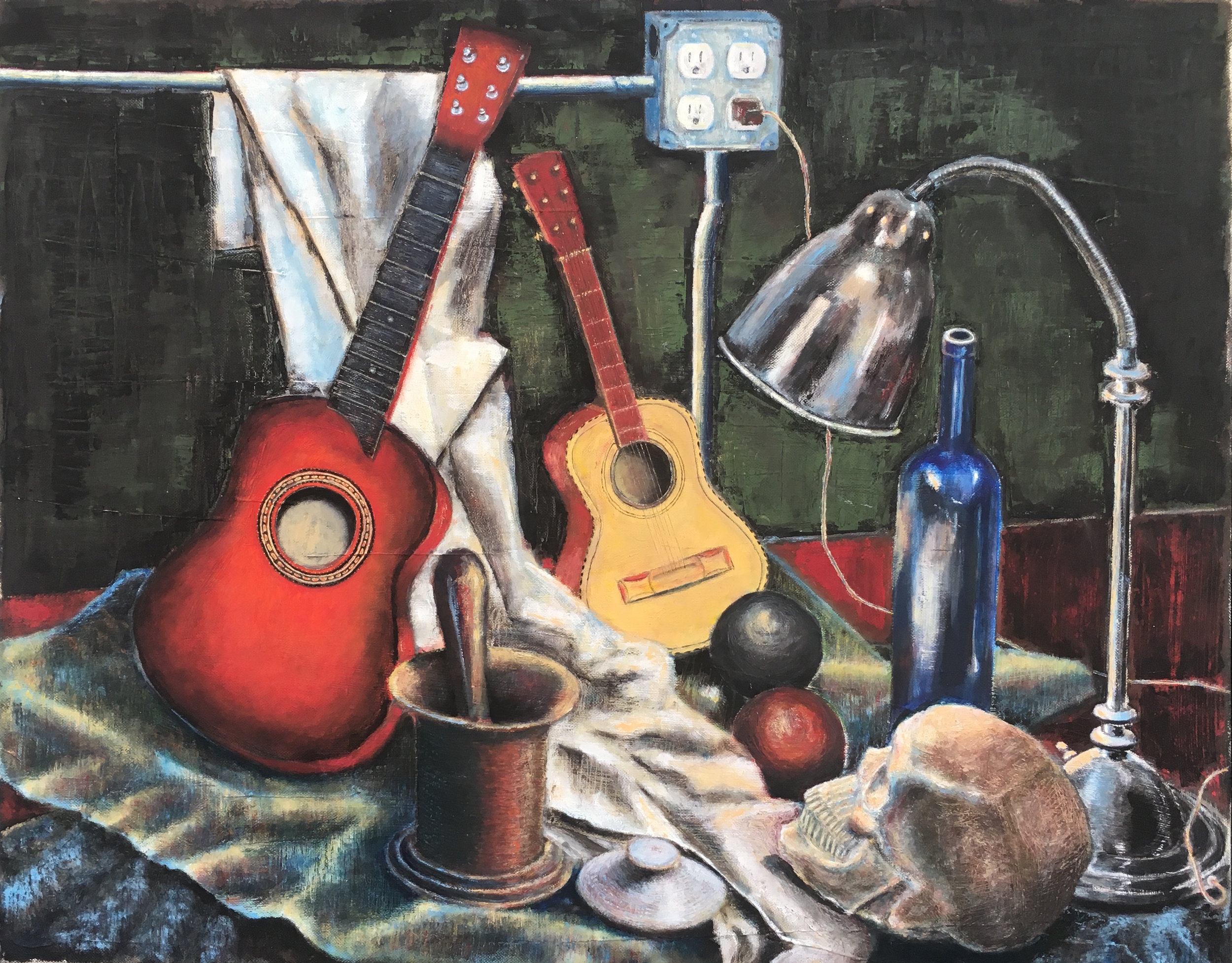 "2015 | Toy Guitars and Lamp | Oil on canvas | 24"" x 30"" (61 cm x 76.2 cm)"