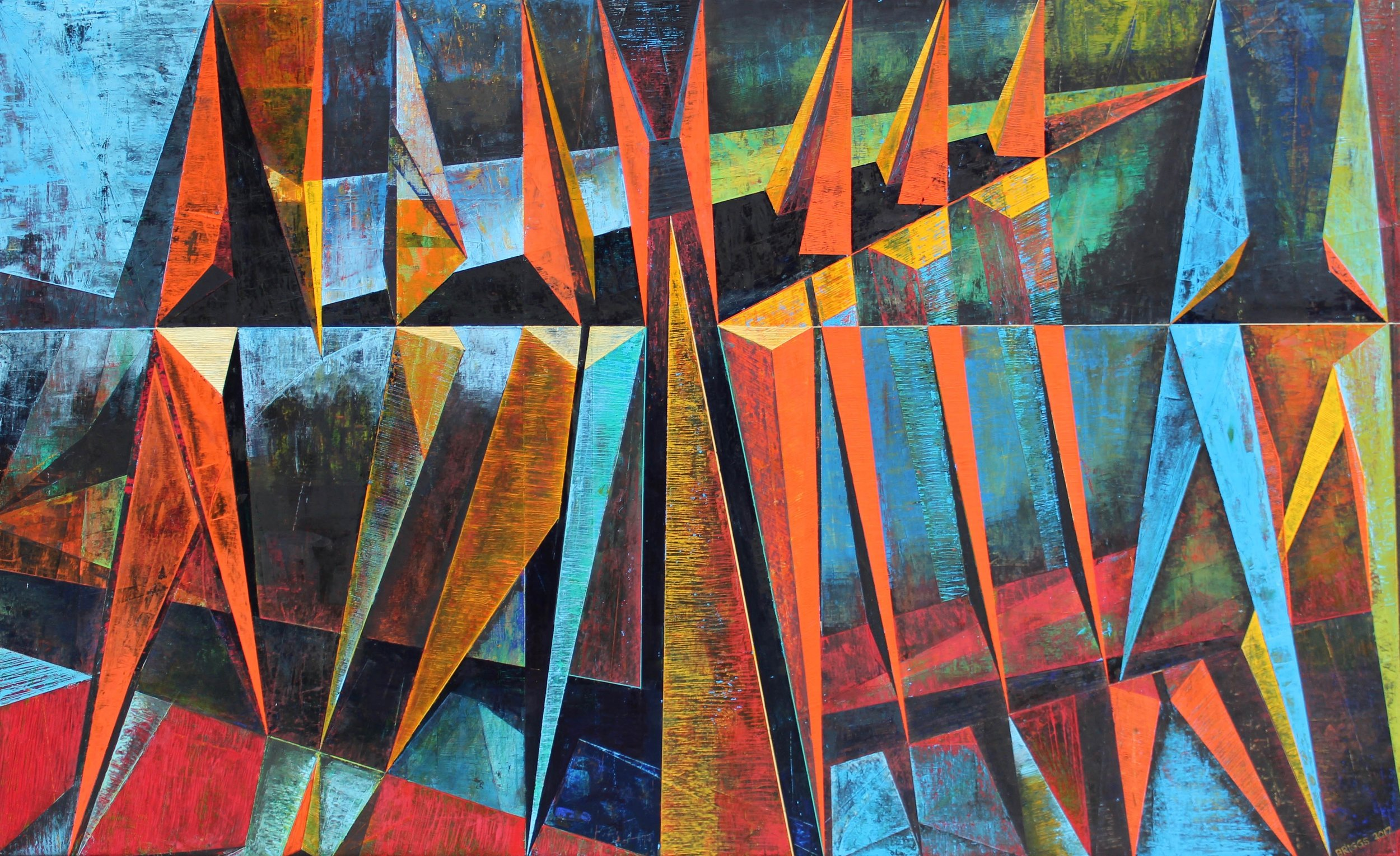 "2017 | Scrape No. 6_The Struggle | Oil on canvas | 38"" x 62"" (96.5 cm x 157.5 cm)  Collection of Jenn Crisan and Daniel Horne"