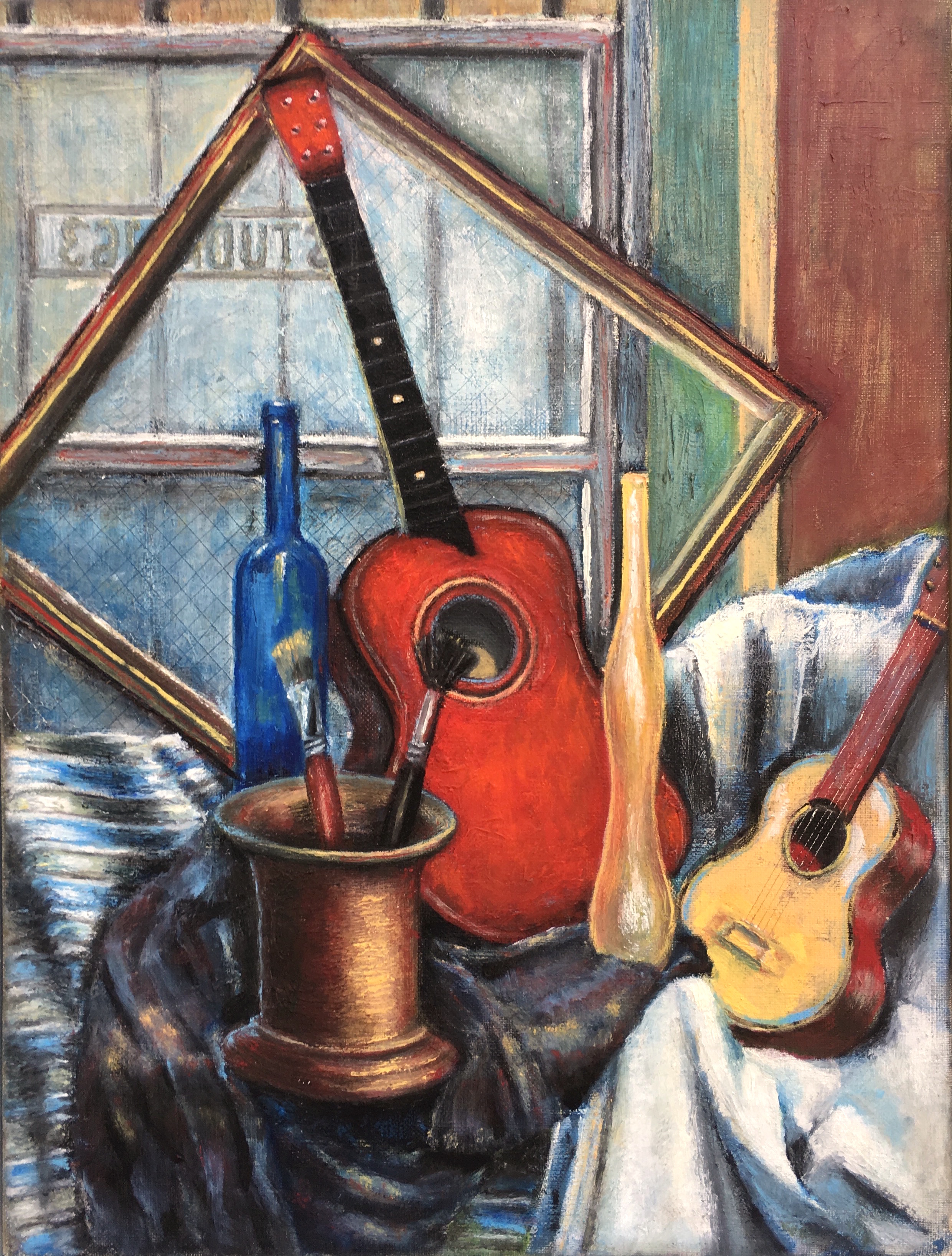 "2015 | Toy Guitars | Oil on linen | 12"" x 9"" (30.5 cm x 22.9 cm)"